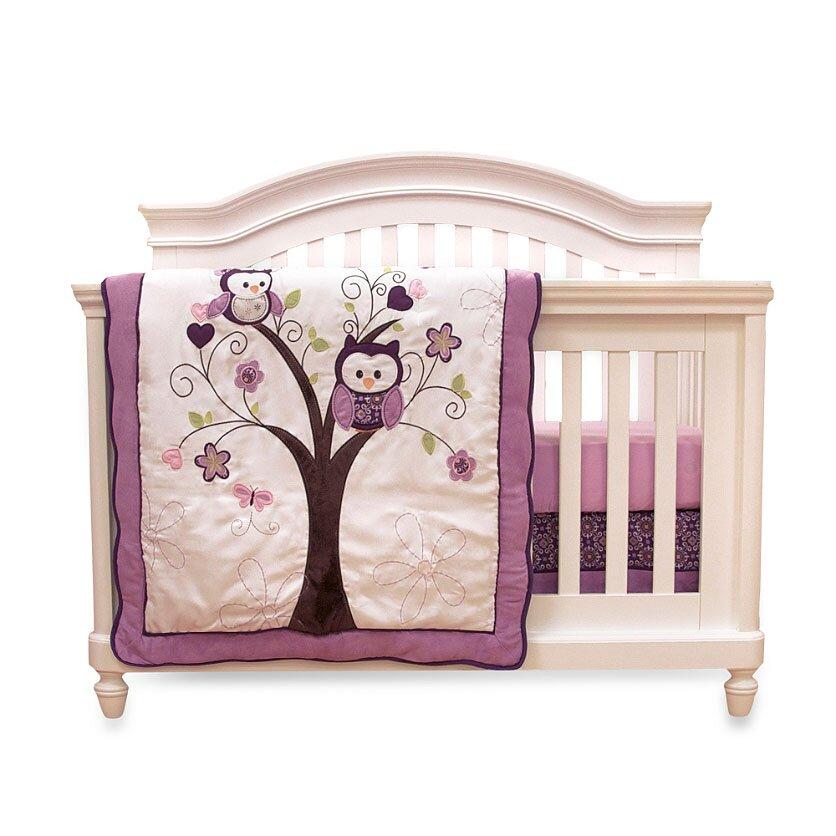 Baby S First Plum Owl Meadow 4 Piece Crib Bedding Set