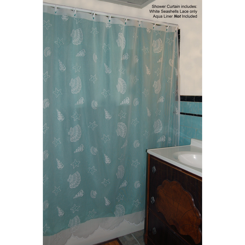 Curtain Chic Seashell Lace Shower Curtain  Reviews Wayfair - Shower curtain