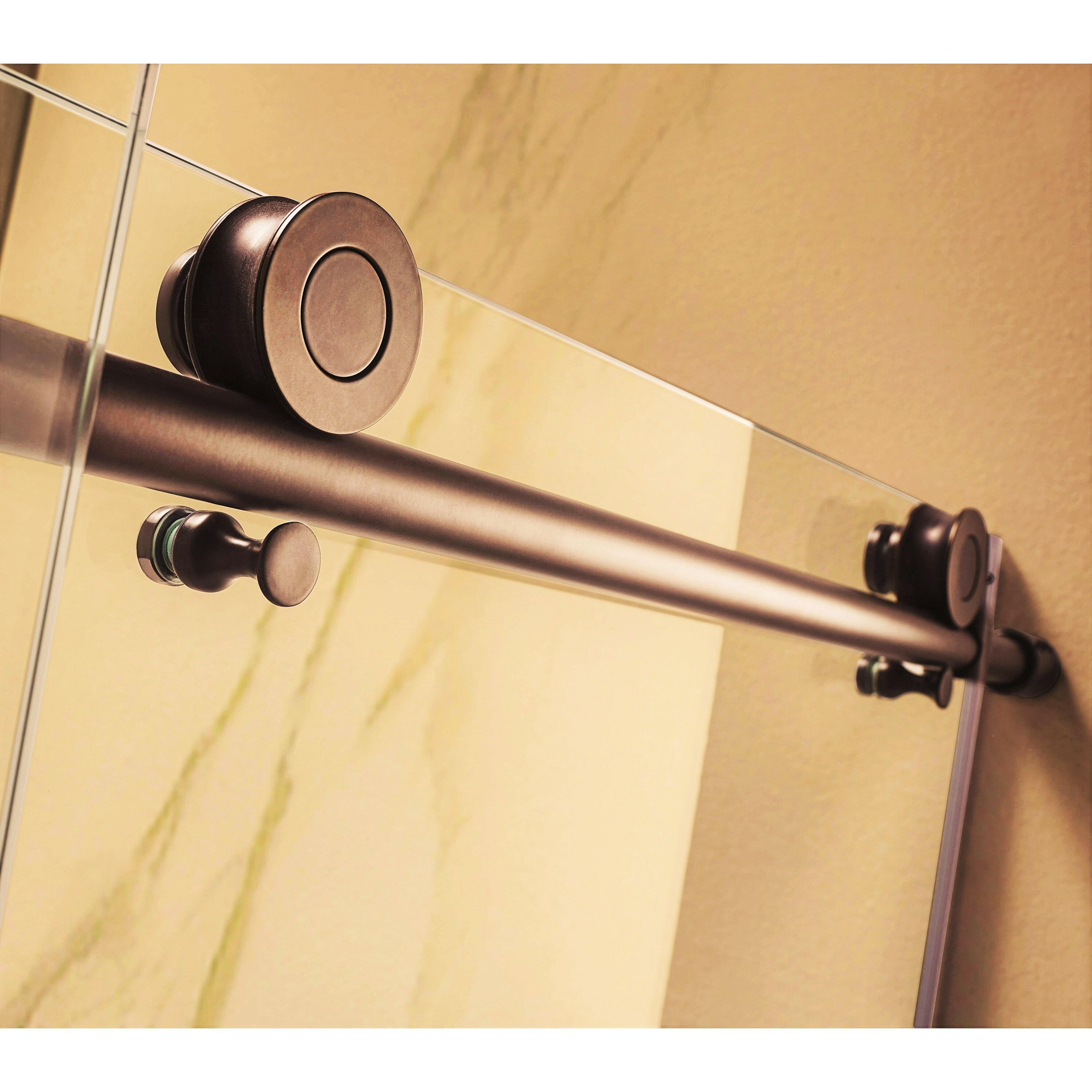 oil rubbed bronze wet republic trident mocha 60 x 76 single sliding frameless shower door