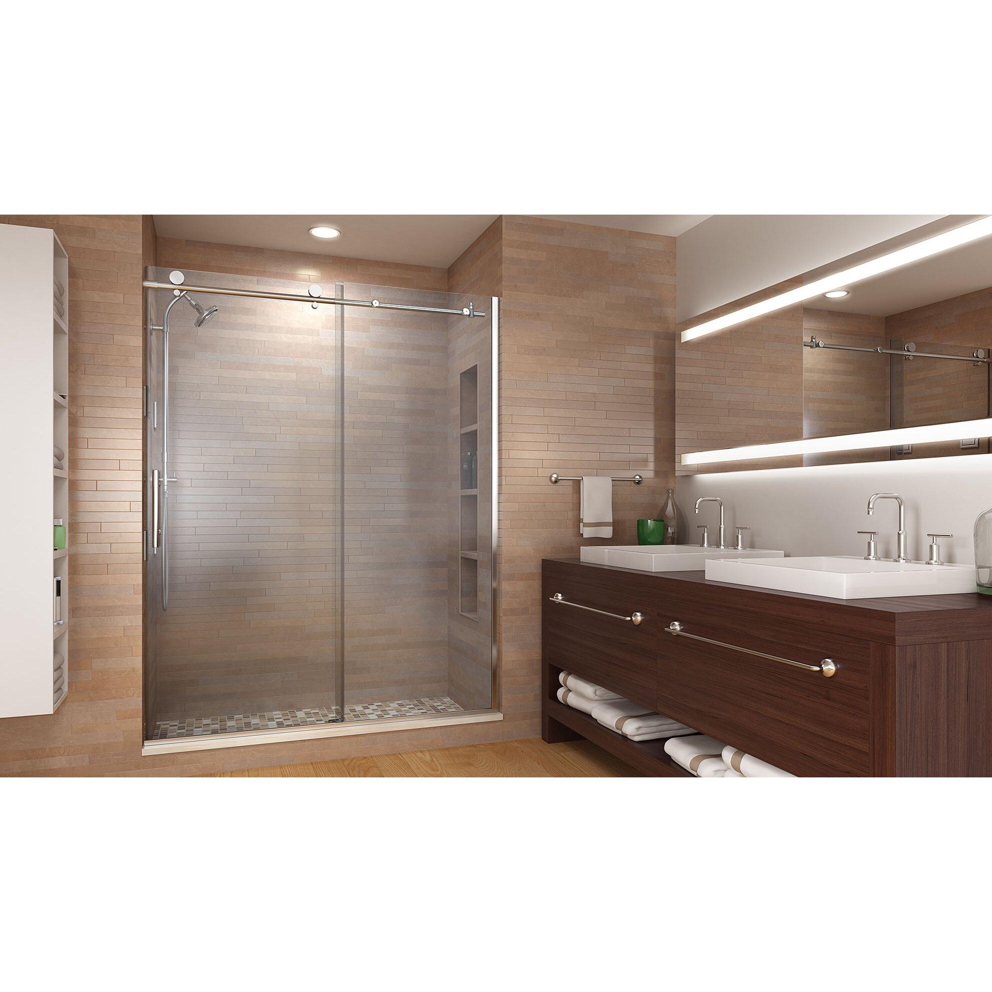 basco vinesse 76 x 59 single sliding fixed panel shower door