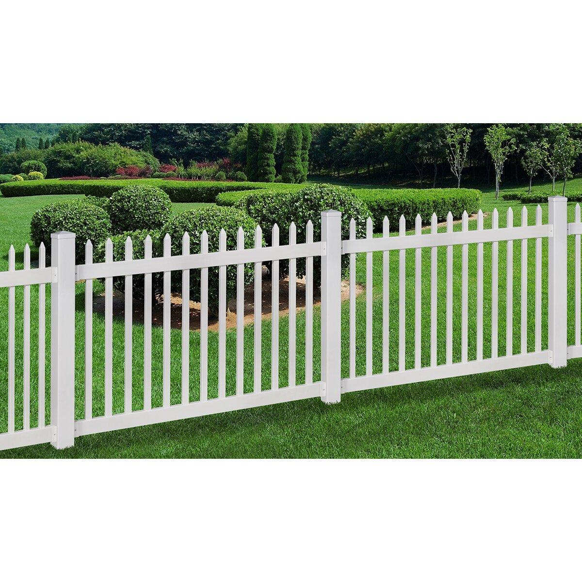 Wam bam no dig fence nantucket vinyl picket fence with - Verjas de hierro ...