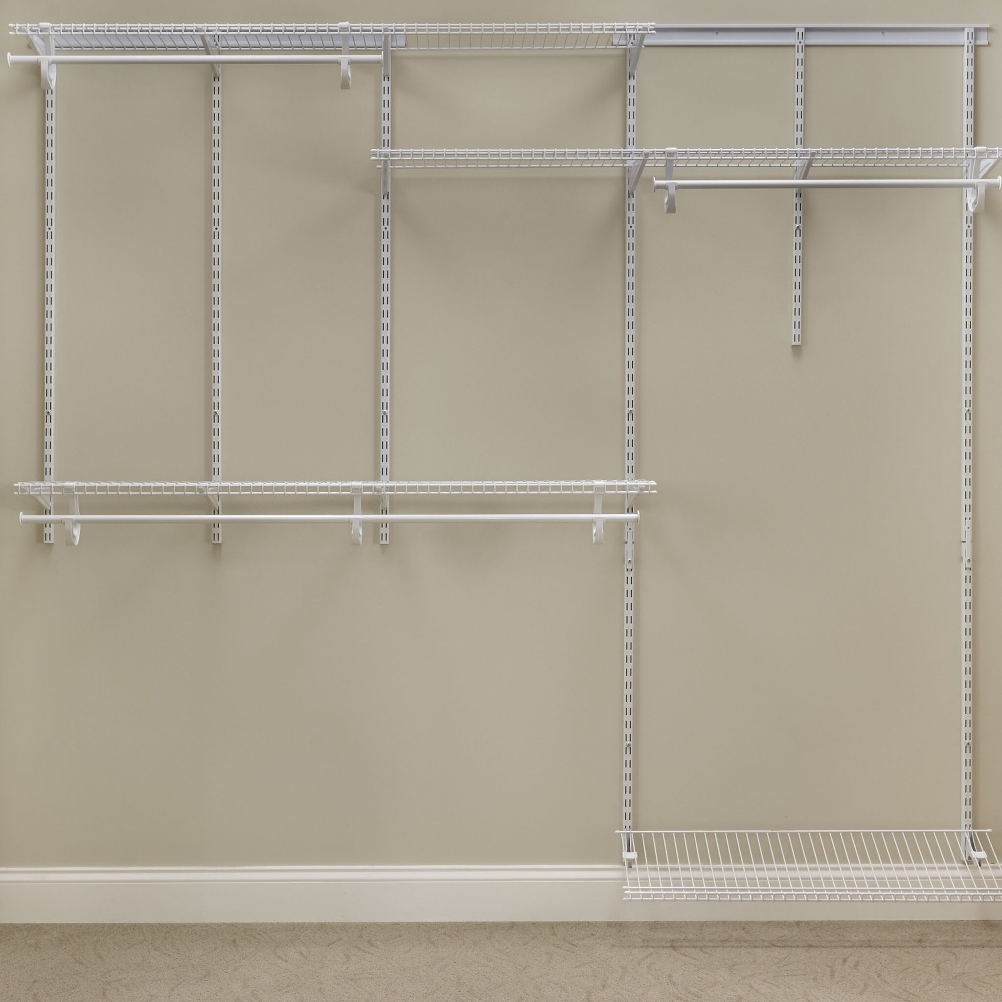 ClosetMaid ShelfTrack 5 Ft. U2013 8 Ft. Nickel Closet Organizer Kit