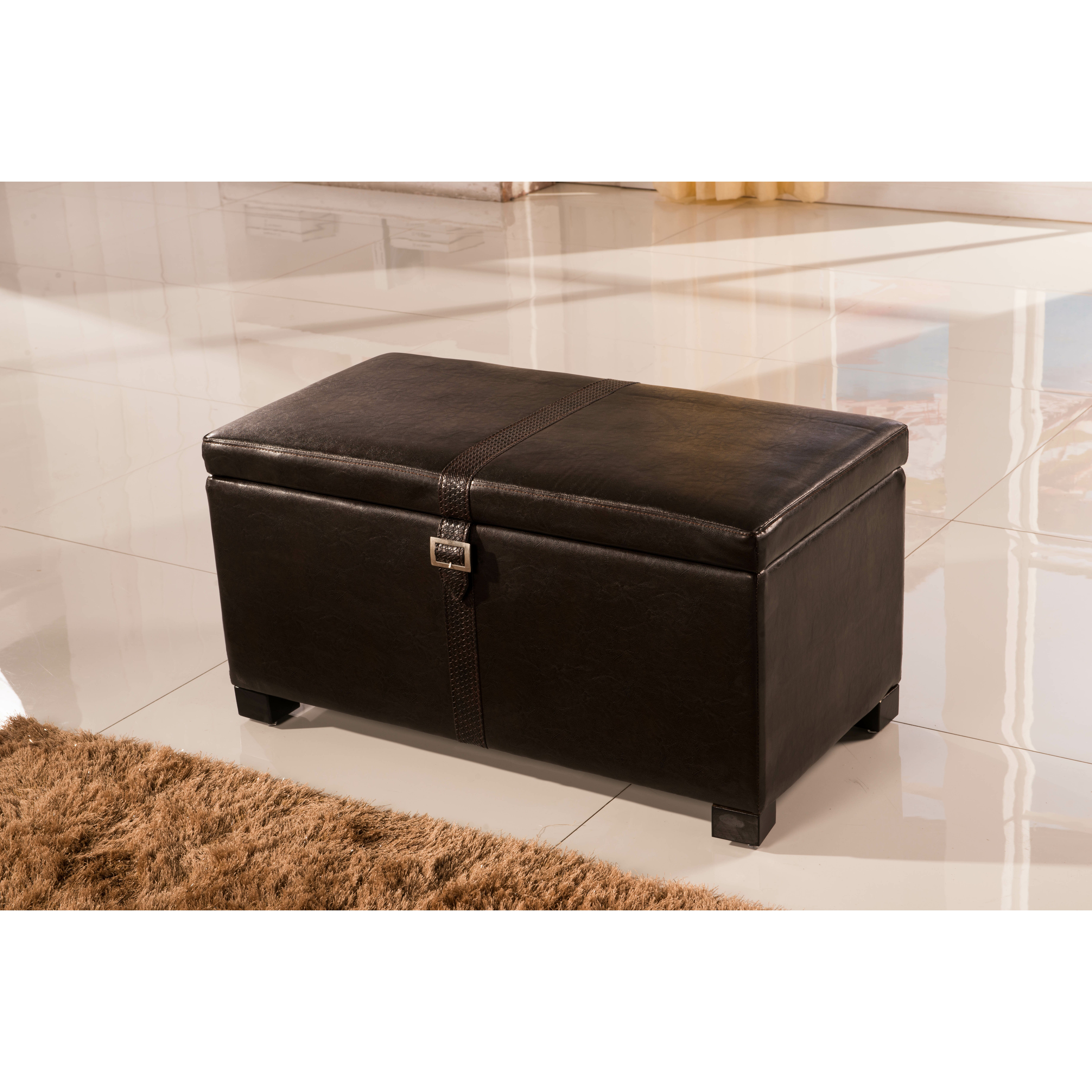 Bellasario Collection Royal Comfort Upholstered Storage Bedroom Bench