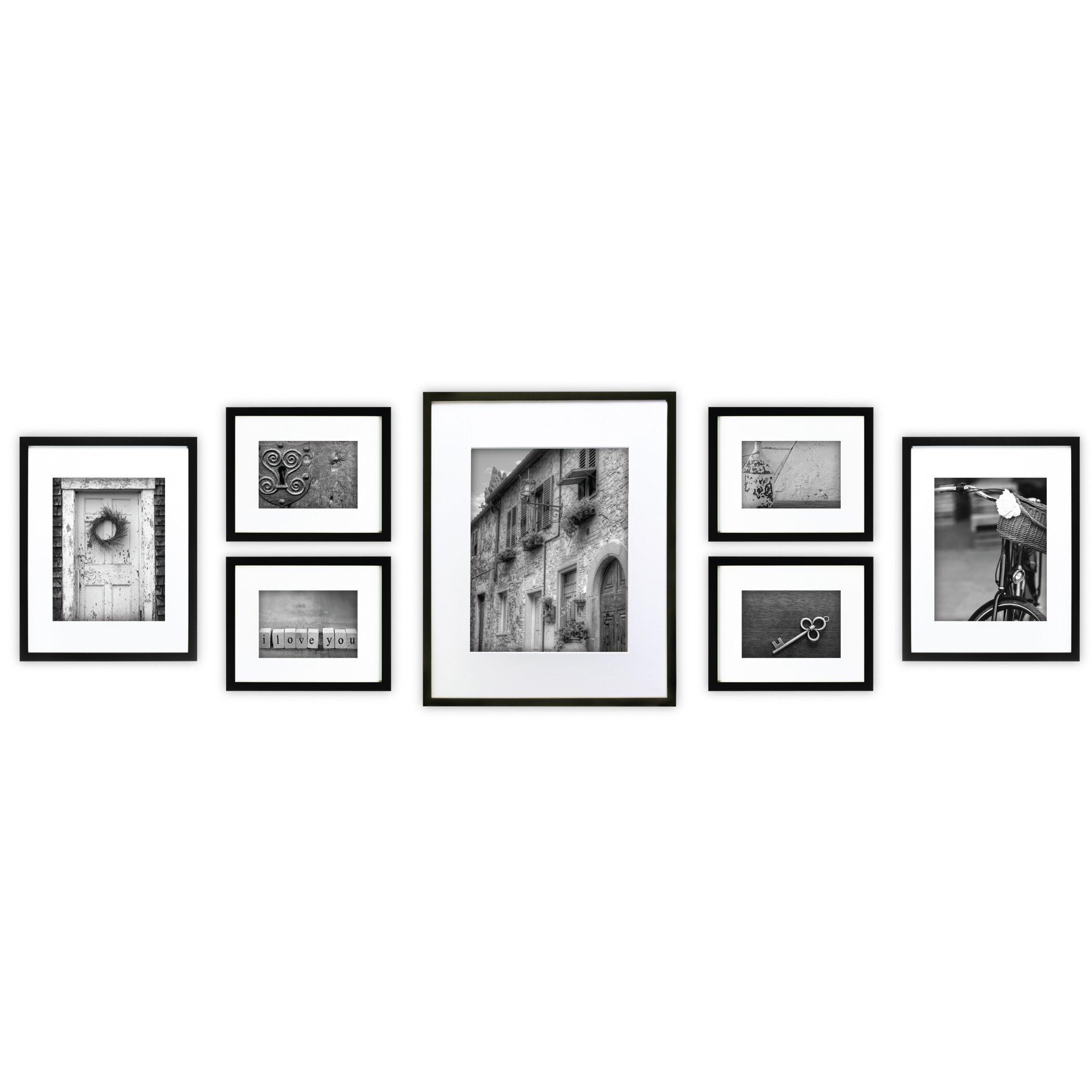 nielsen bainbridge 7 piece wood matted picture frame set