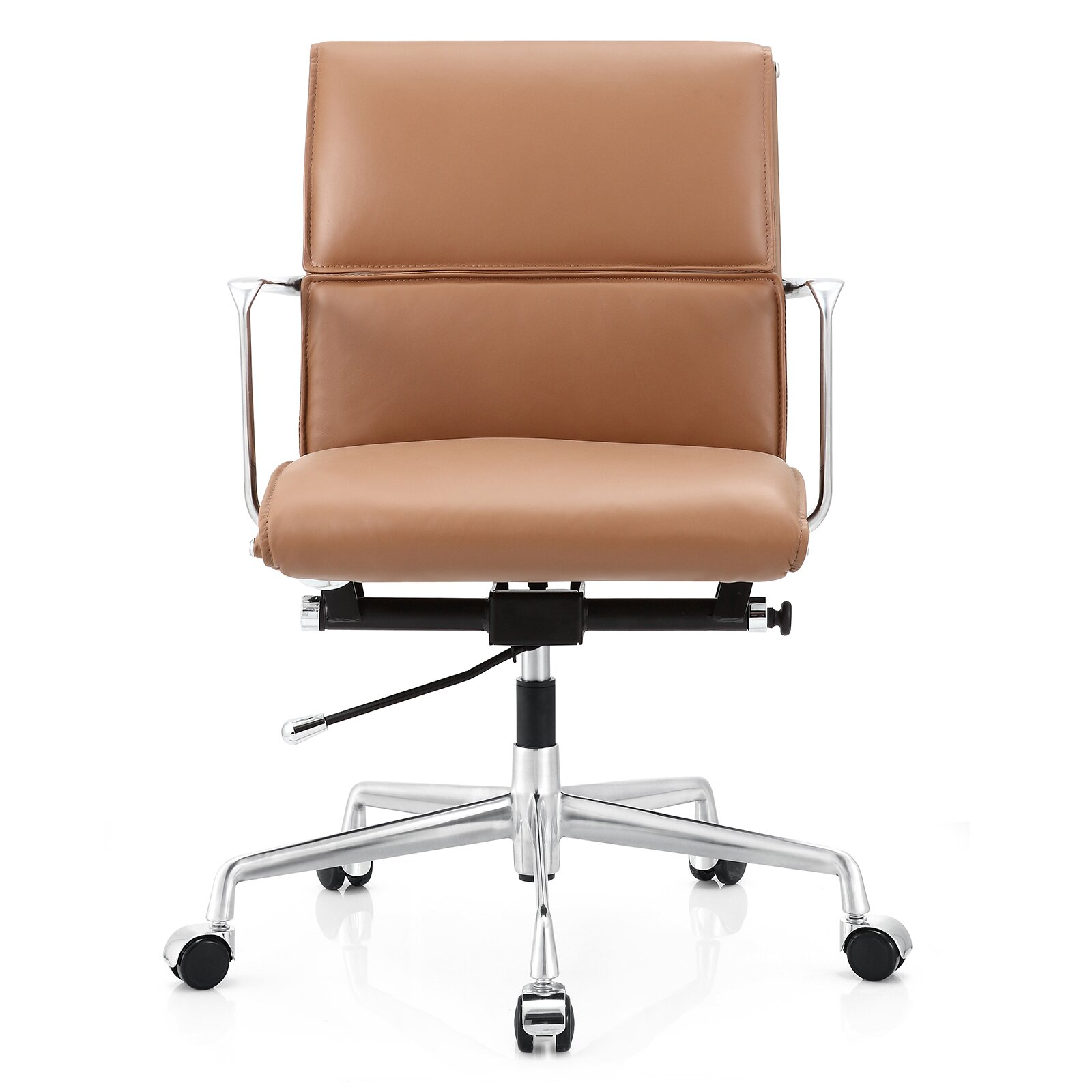 Tan leather office chair - Meelano Leather Desk Chair