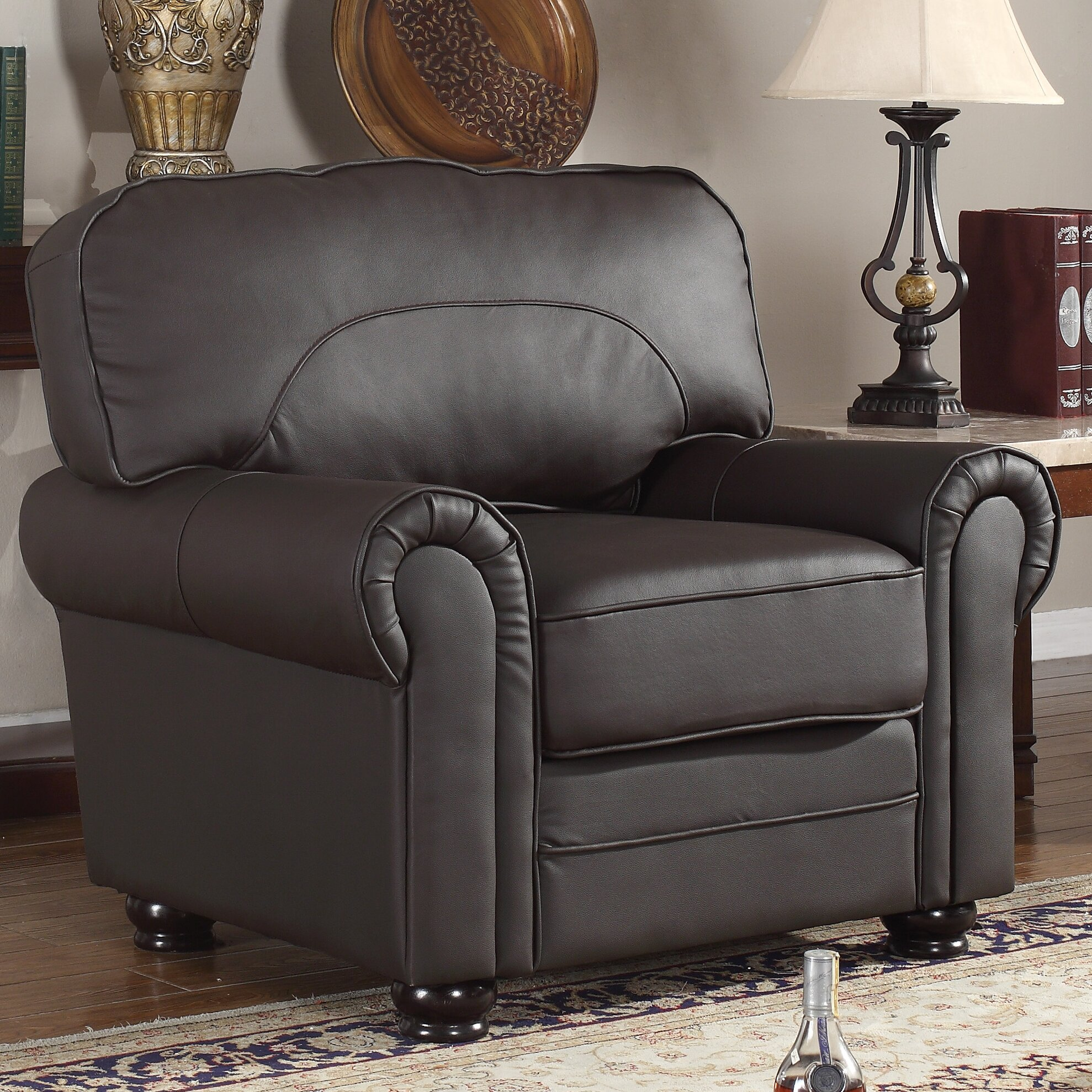 Madison Home USA Leather Upholstered Scroll Armchair. Madison Home USA Leather Upholstered Scroll Armchair   Reviews