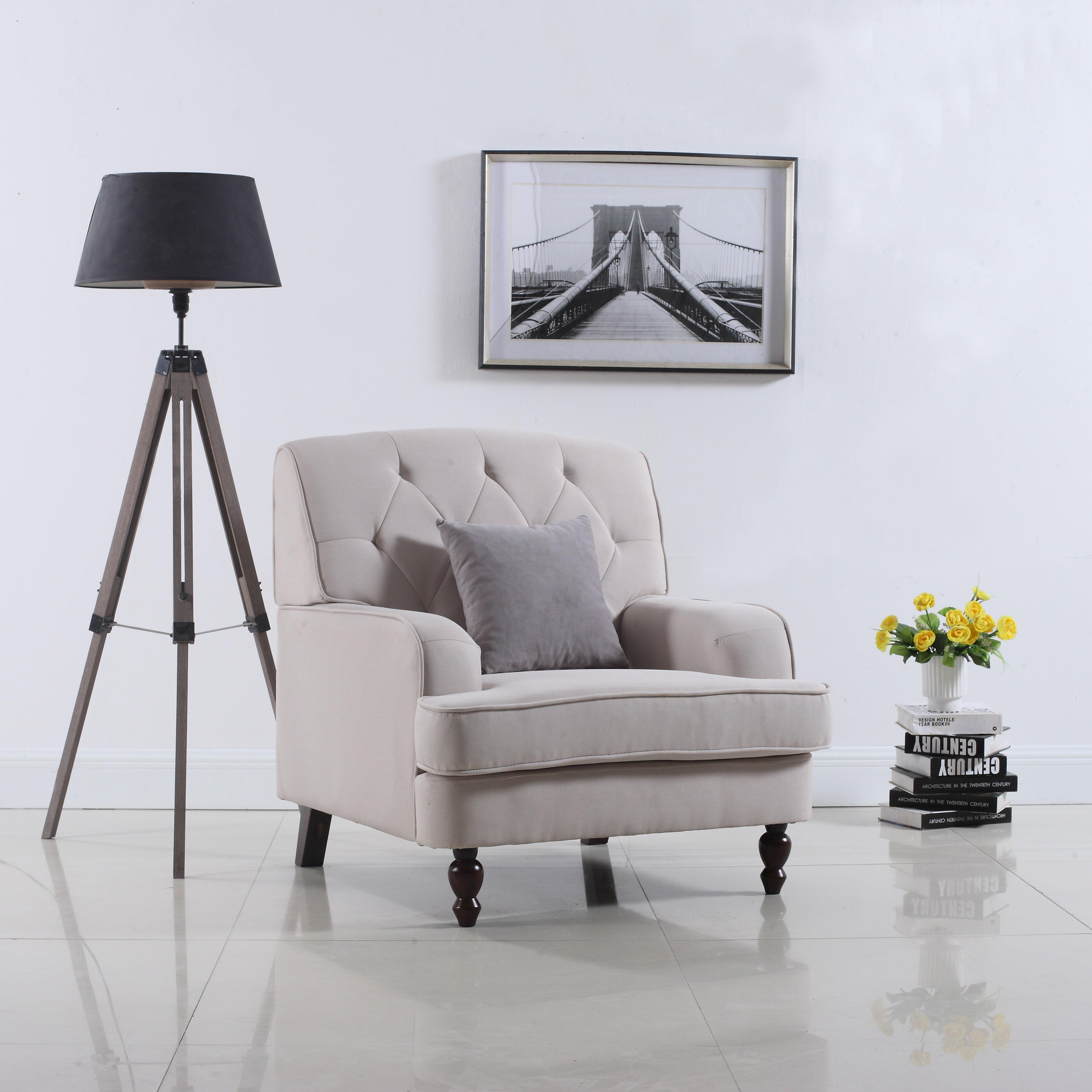 Living Room Arm Chair Madison Home Usa Modern Tufted Fabric Living Room Arm Chair