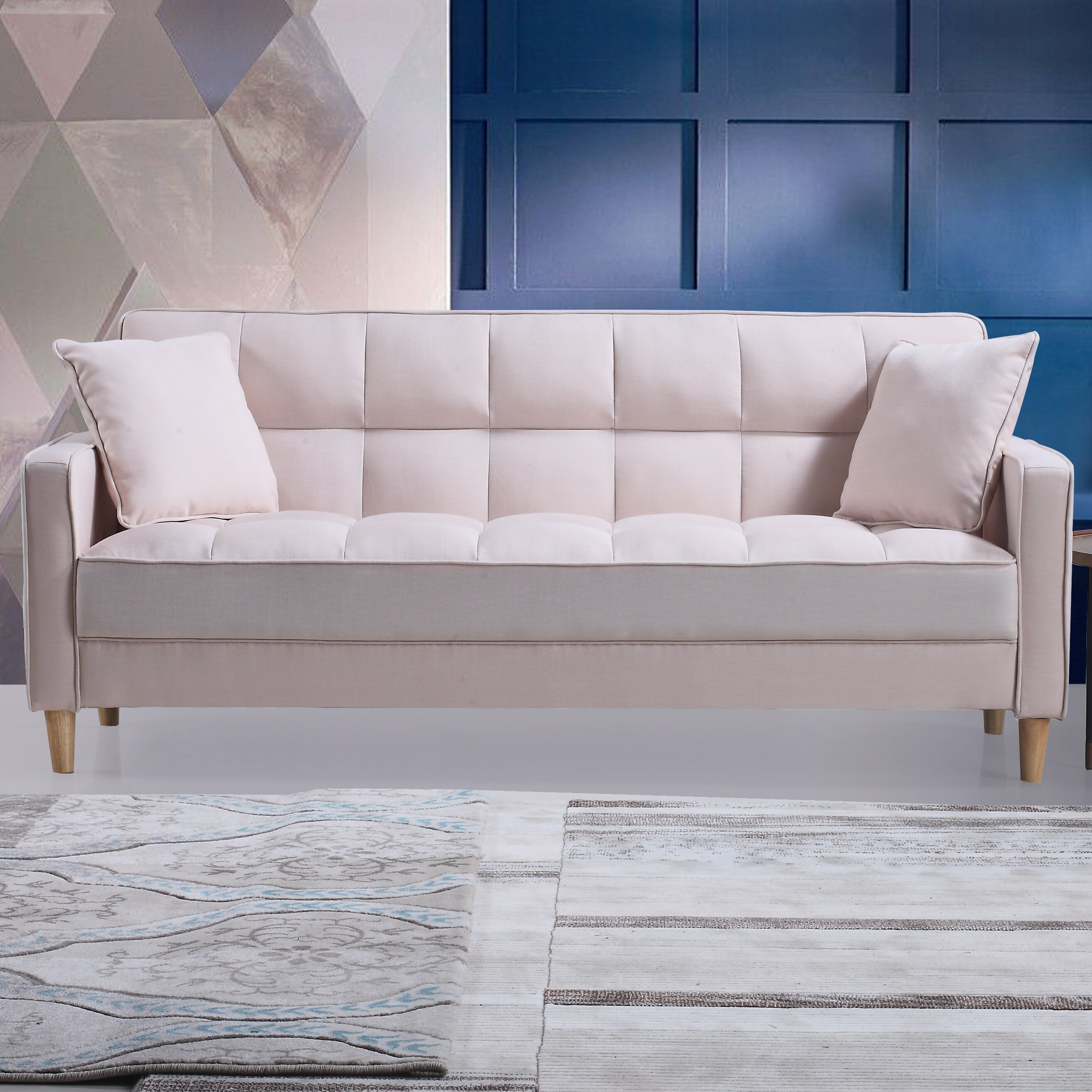 Madison Home Usa Modern Linen Fabric Tufted Small Space