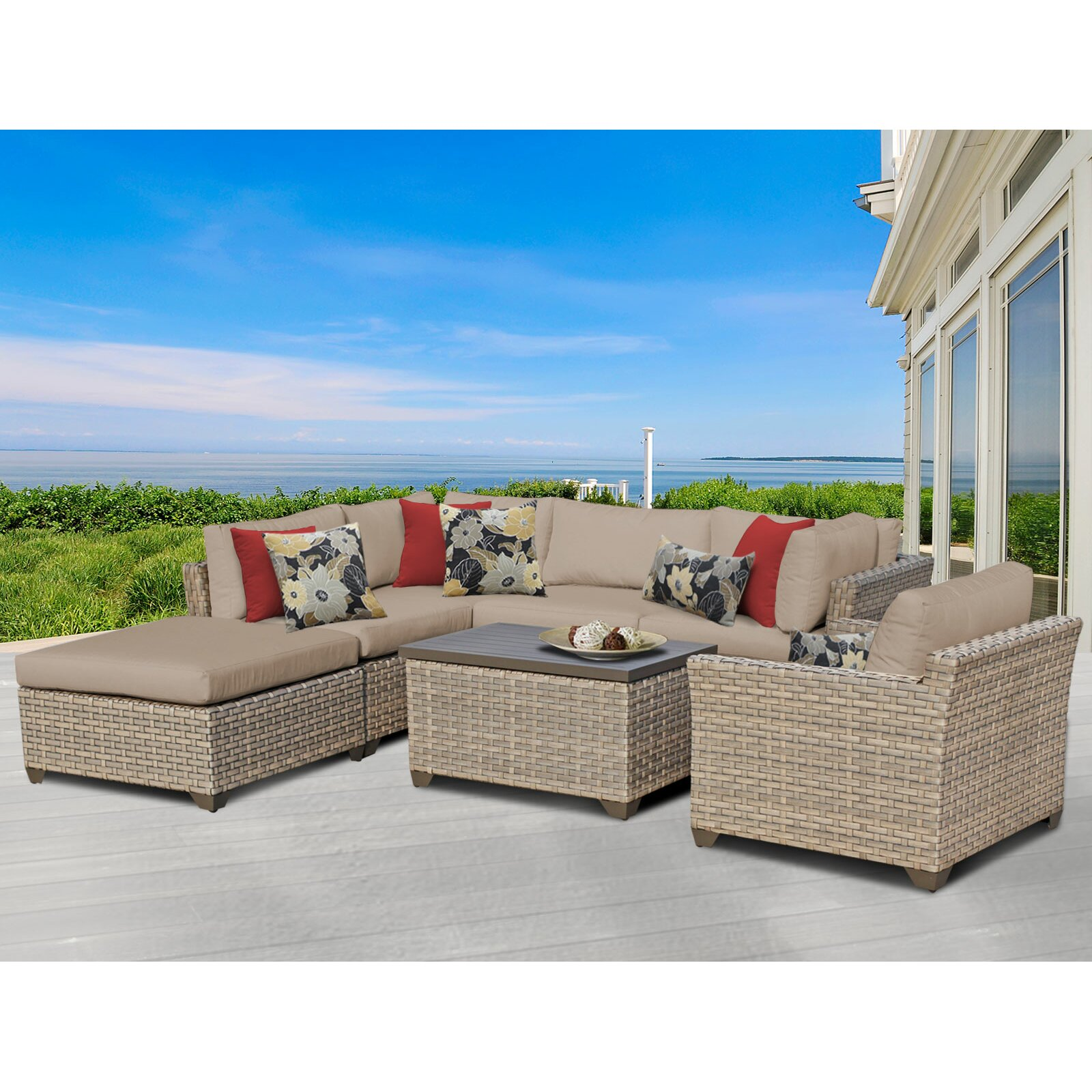 Tk Classics Monterey 7 Piece Sectional Seating Group With