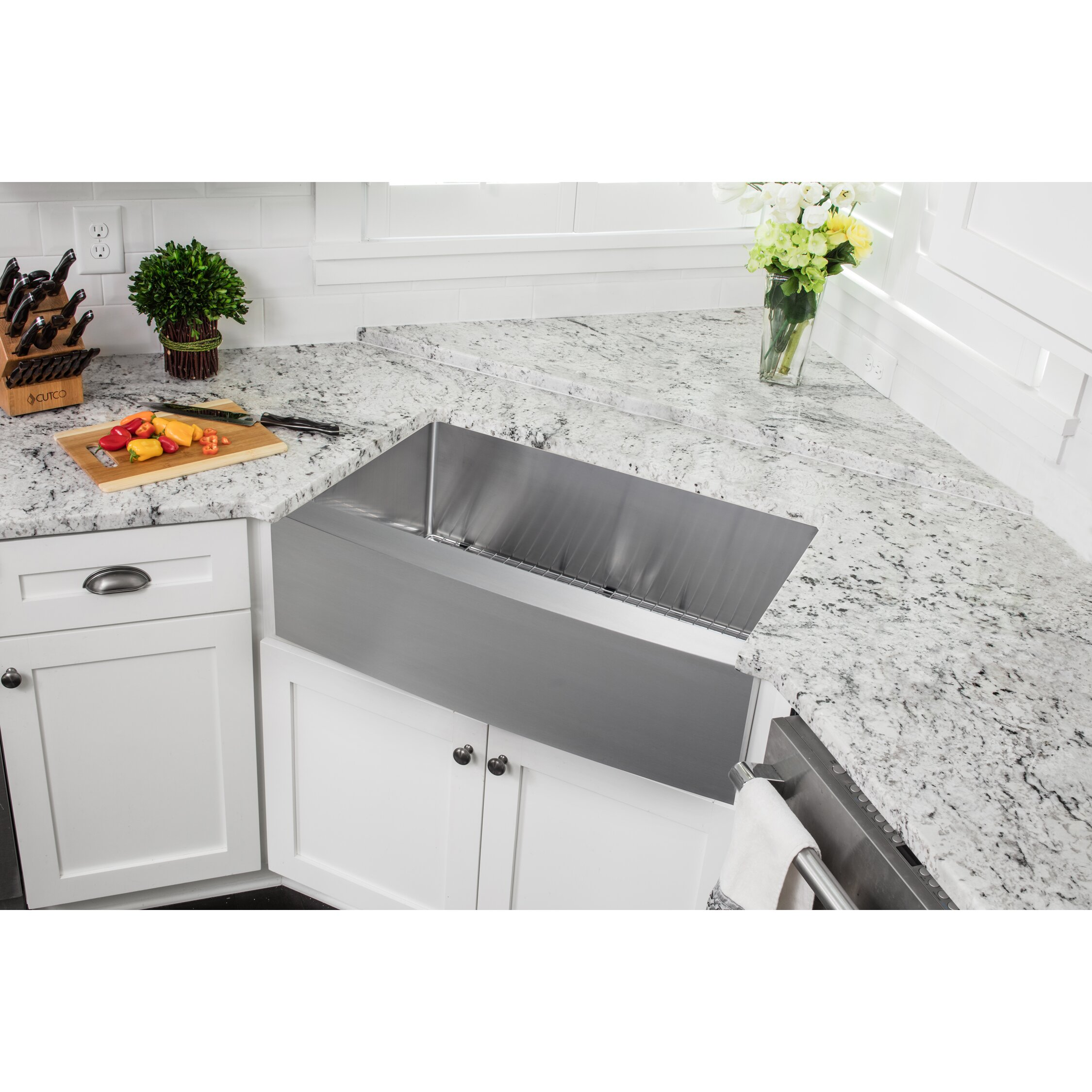 Soleil 36 x 20 stainless steel 16 gauge apron front single bowl kitchen sink reviews - Kitchen sinks apron front ...