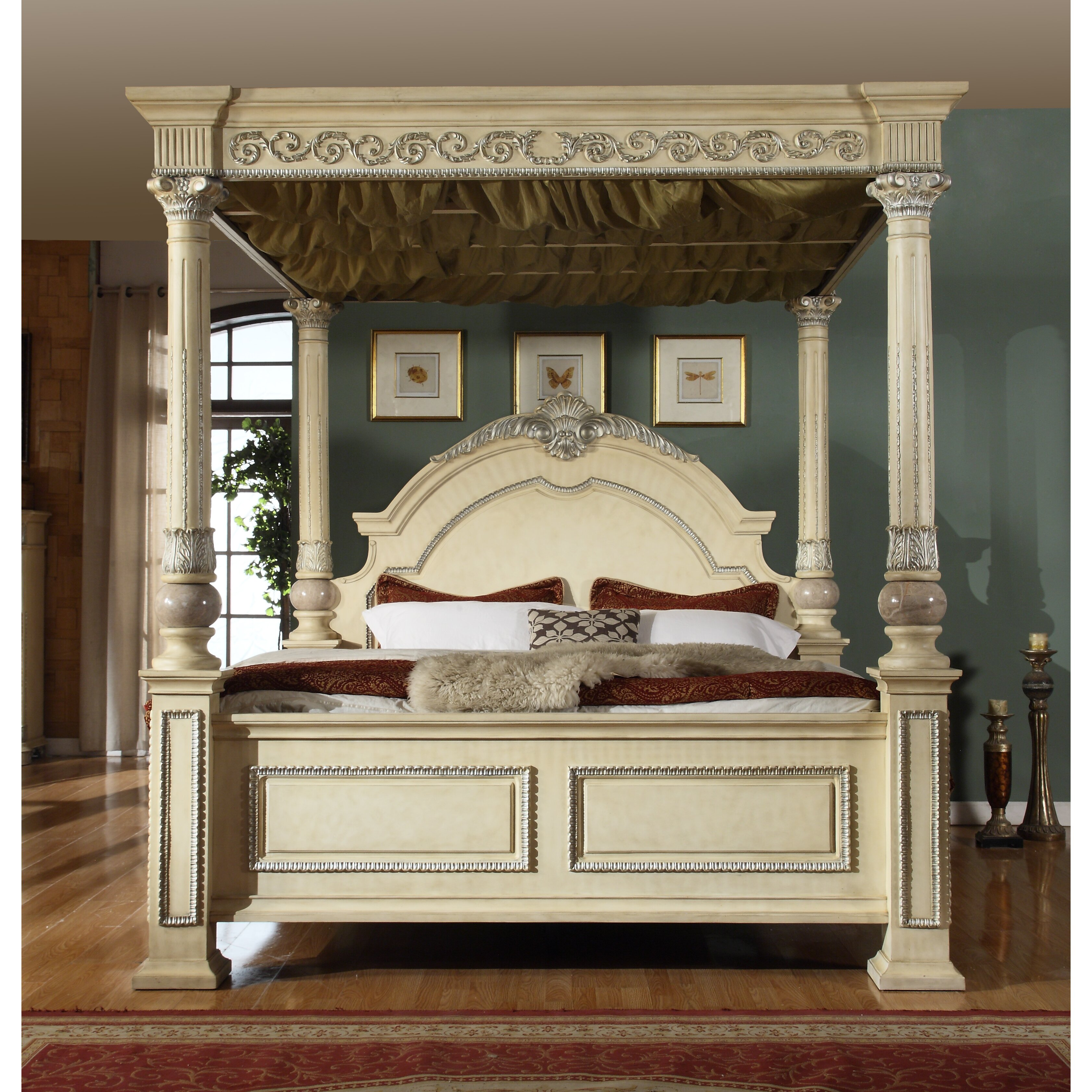meridian furniture usa sienna canopy customizable bedroom set