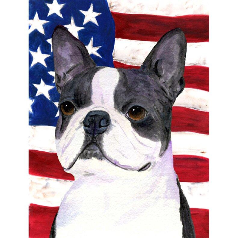 Caroline S Treasures American Flag With Boston Terrier 2 Sided Garden