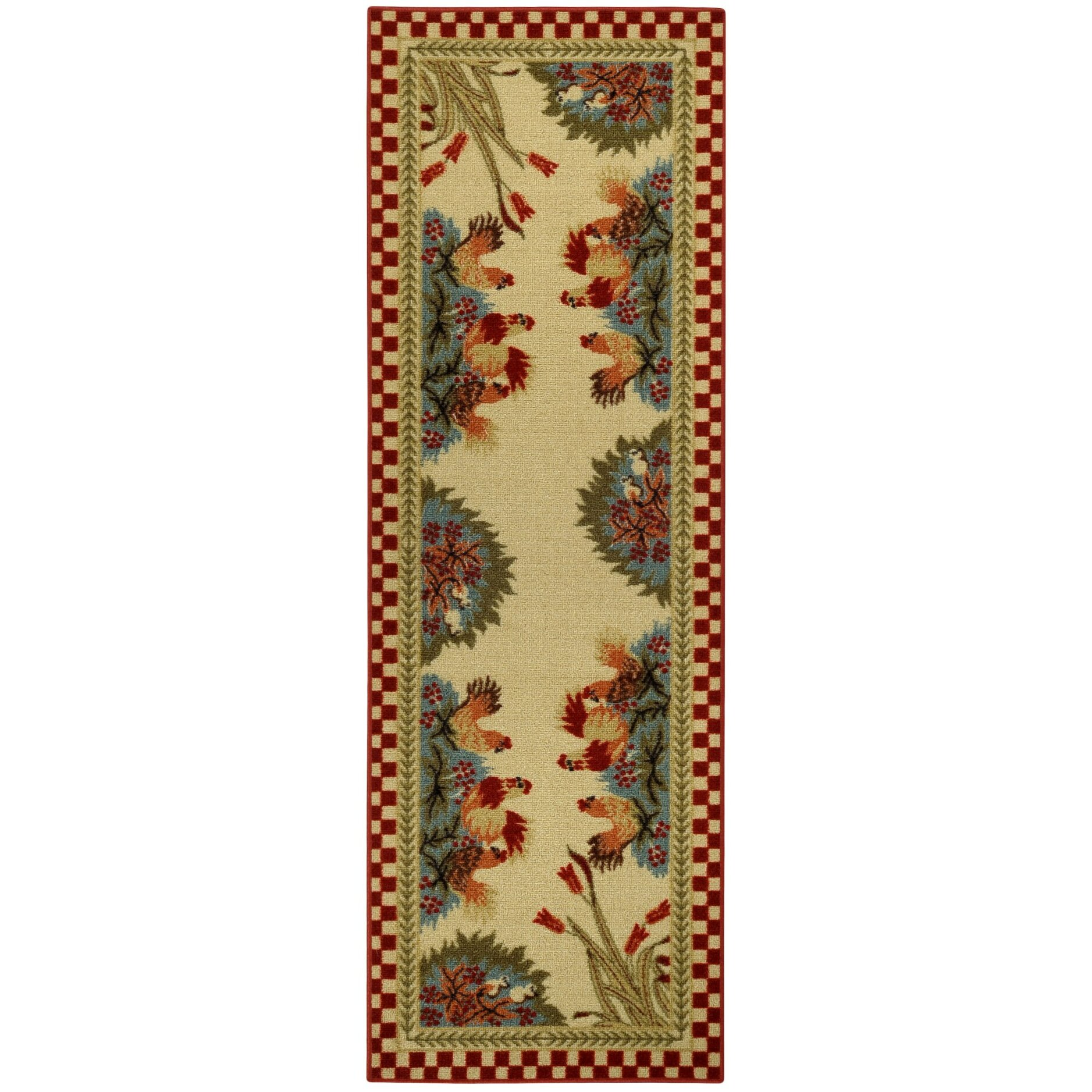 Rooster Area Rugs Kitchen Rugnur Cucina Rooster Checkered Cream Red Kitchen Area Rug