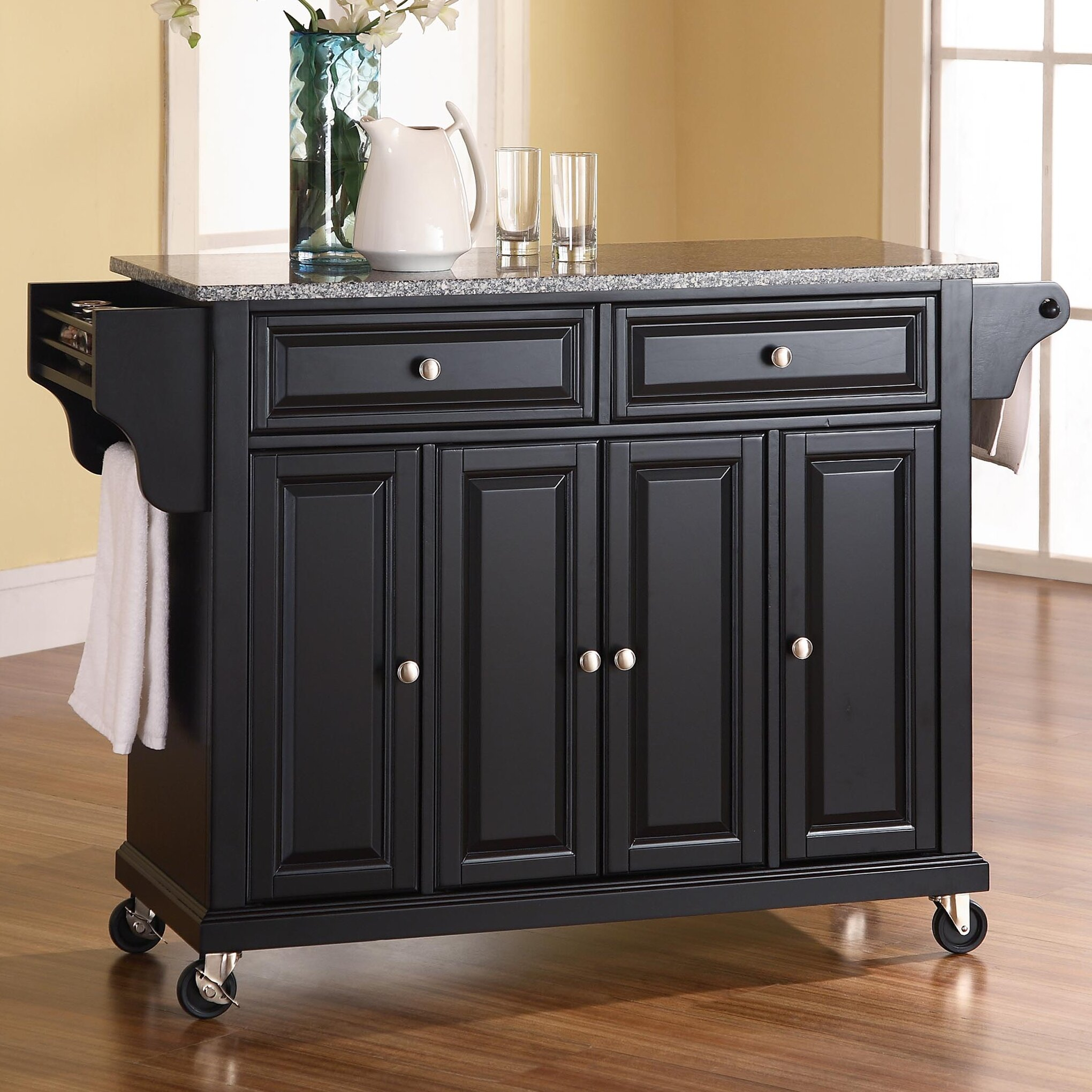 darby home co pottstown kitchen cart/island with granite top, Kitchen design