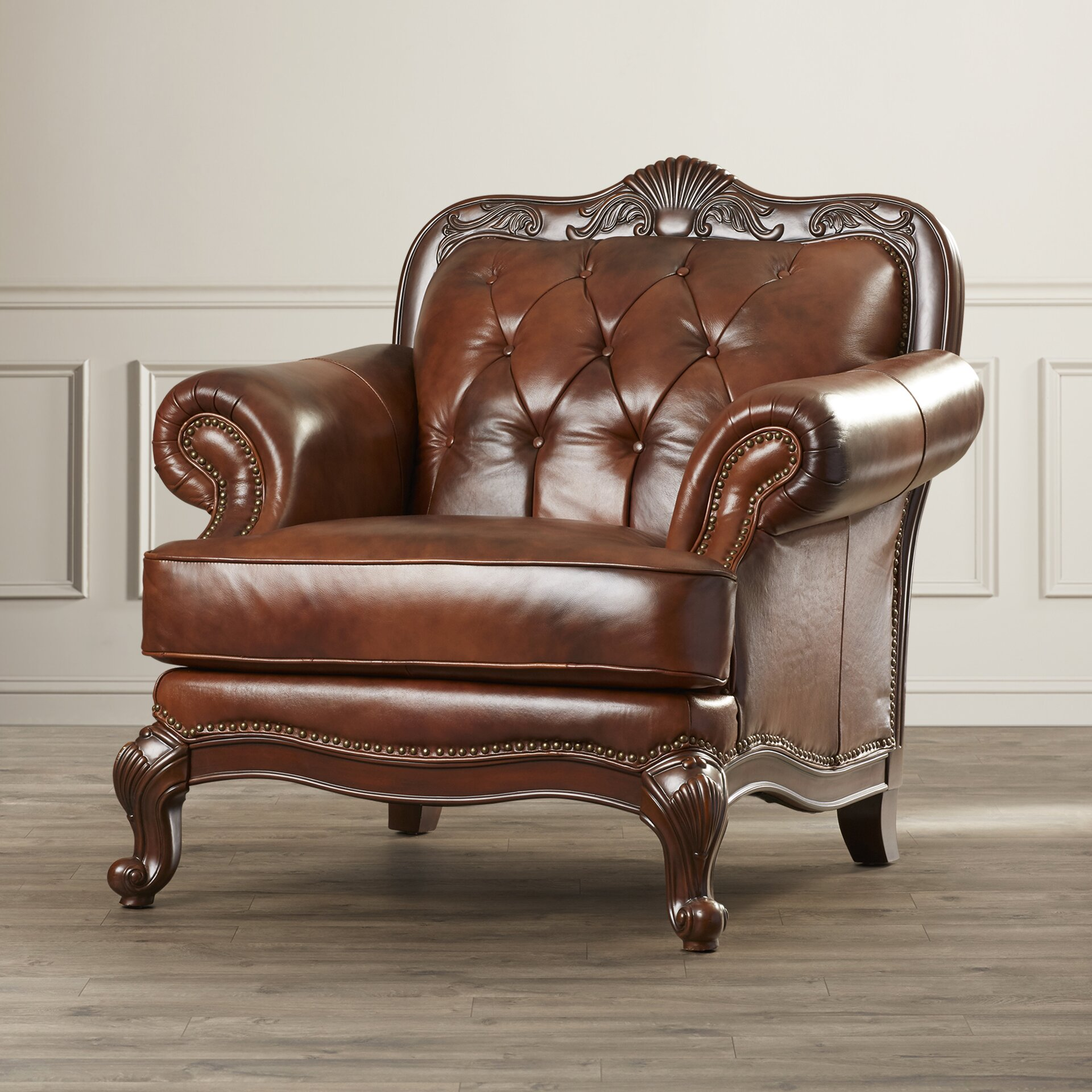 darby home cou0026reg smith leather club chair - Brown Leather Club Chair