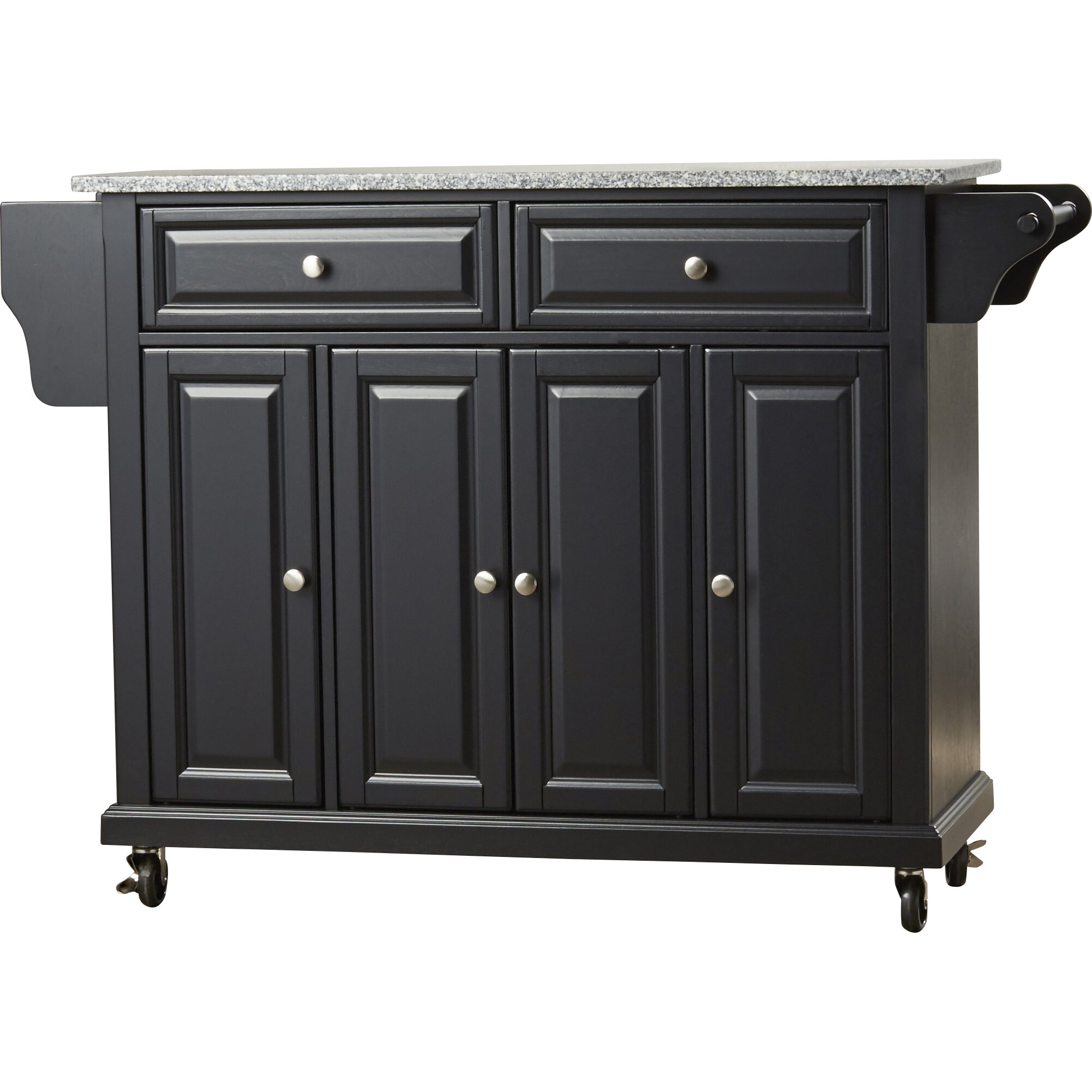 black kitchen island cart with granite top : kitchen.xcyyxh