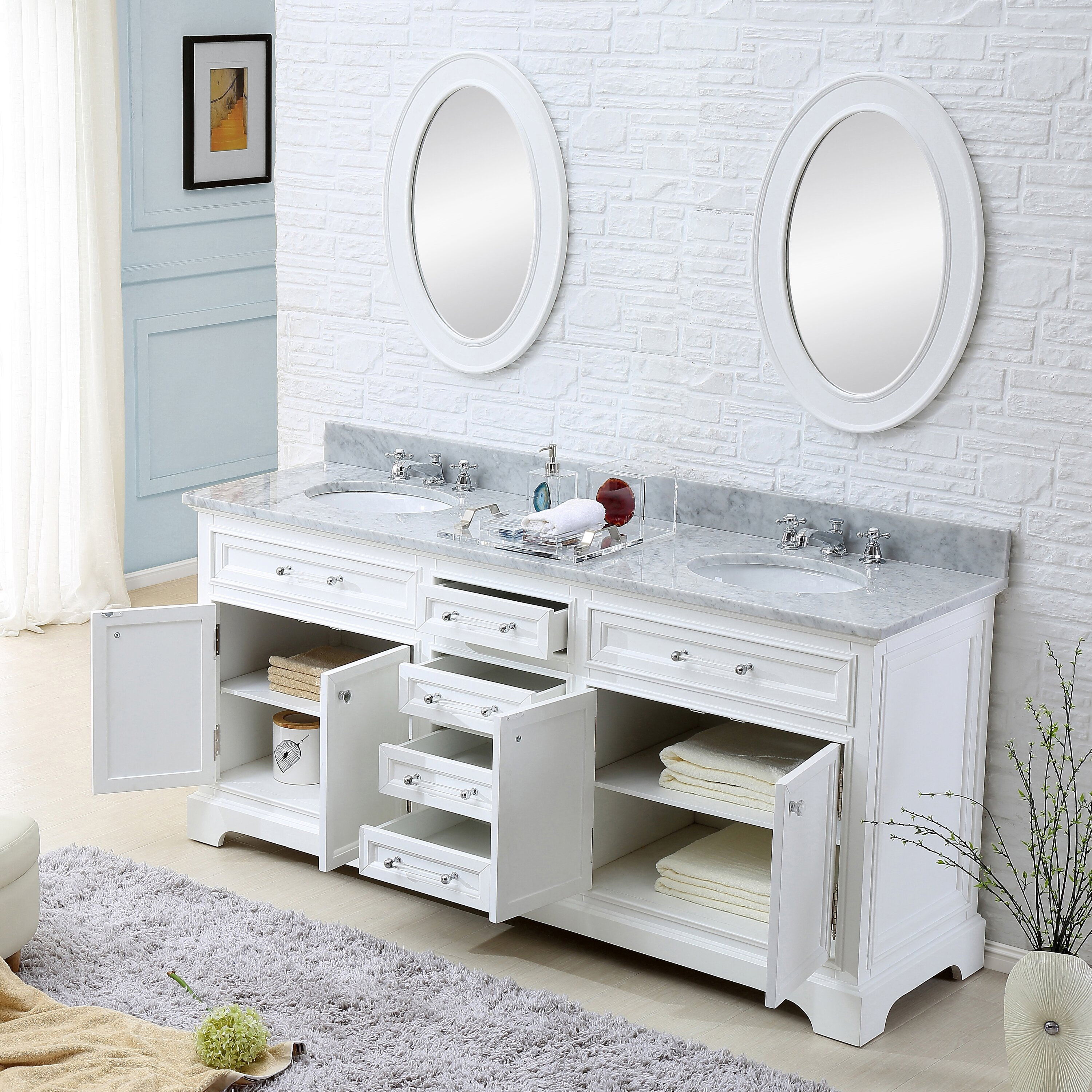 Darby home co colchester 72 double sink bathroom vanity set with mirror white reviews wayfair for Bathroom vanities 72 double sink