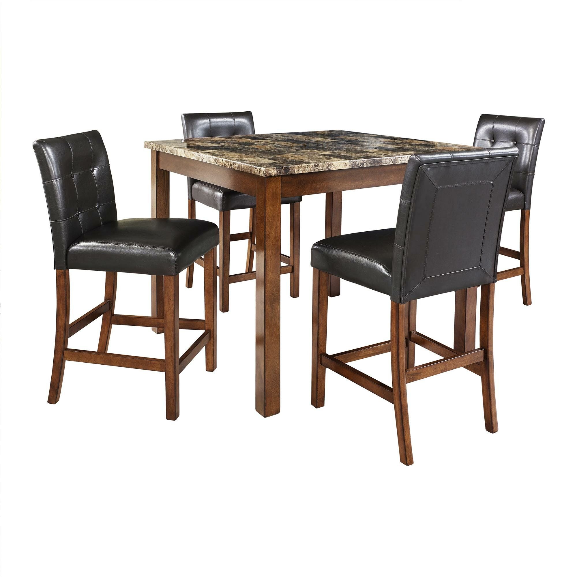 faux marble 5 piece counter height dining set reviews