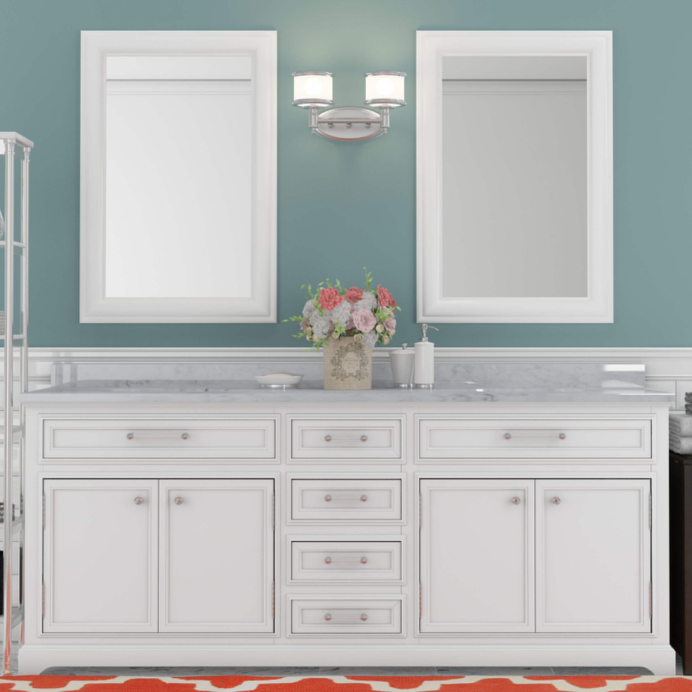 one vanity bathroom inch finish two cadale sink mirror gray double
