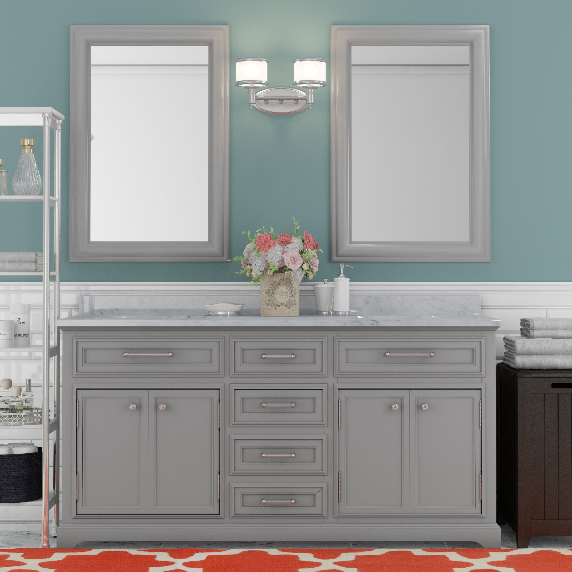 Colchester 60  Double Sink Bathroom Vanity Set   Grey. Double Vanities You ll Love   Wayfair