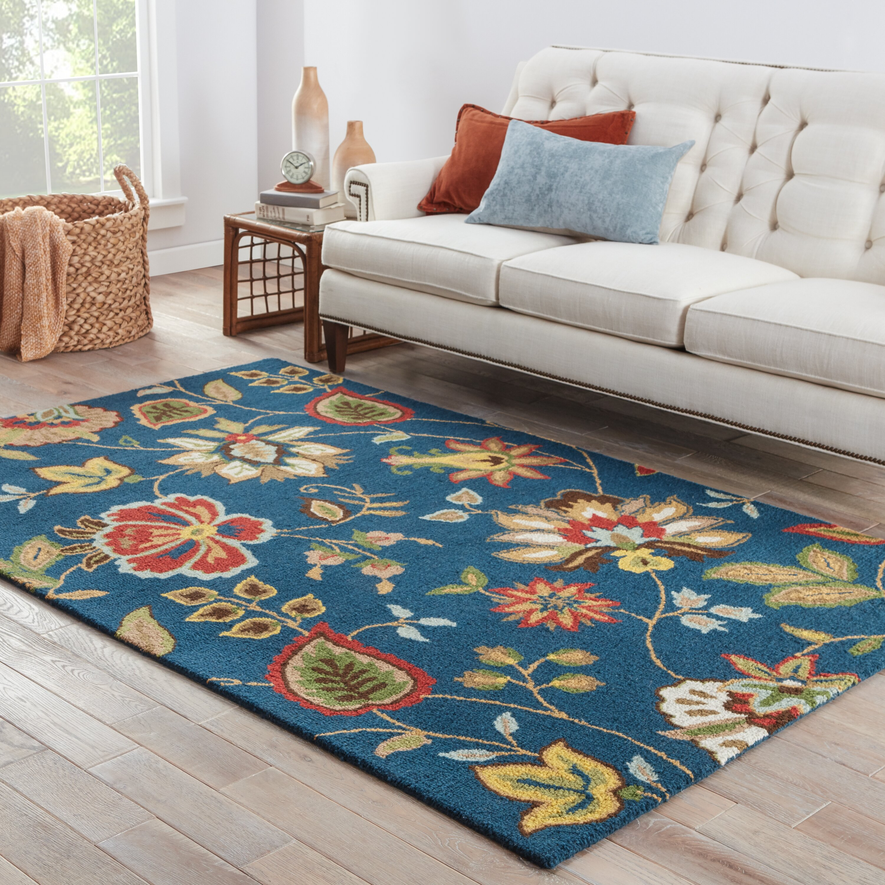 Darby Home Co Gradall Blue Floral Area Rug & Reviews