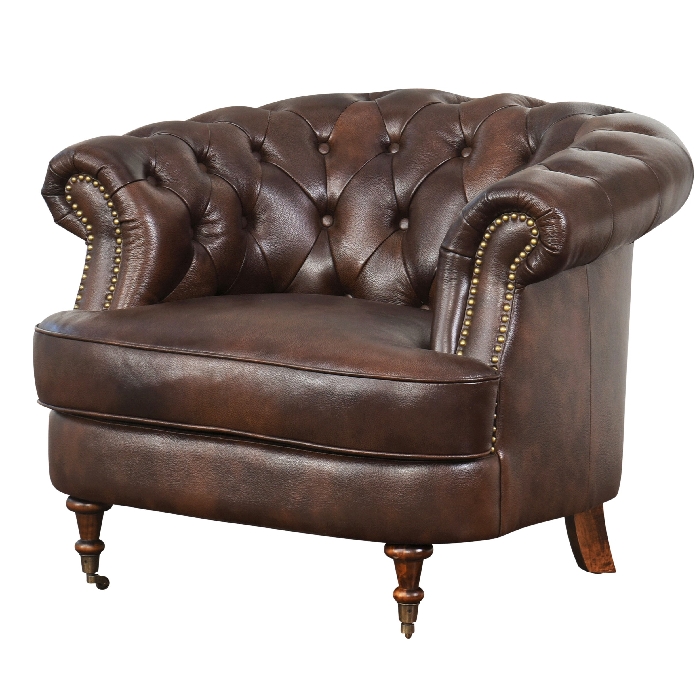 darby home co michele tufted top grain leather arm chair. Black Bedroom Furniture Sets. Home Design Ideas