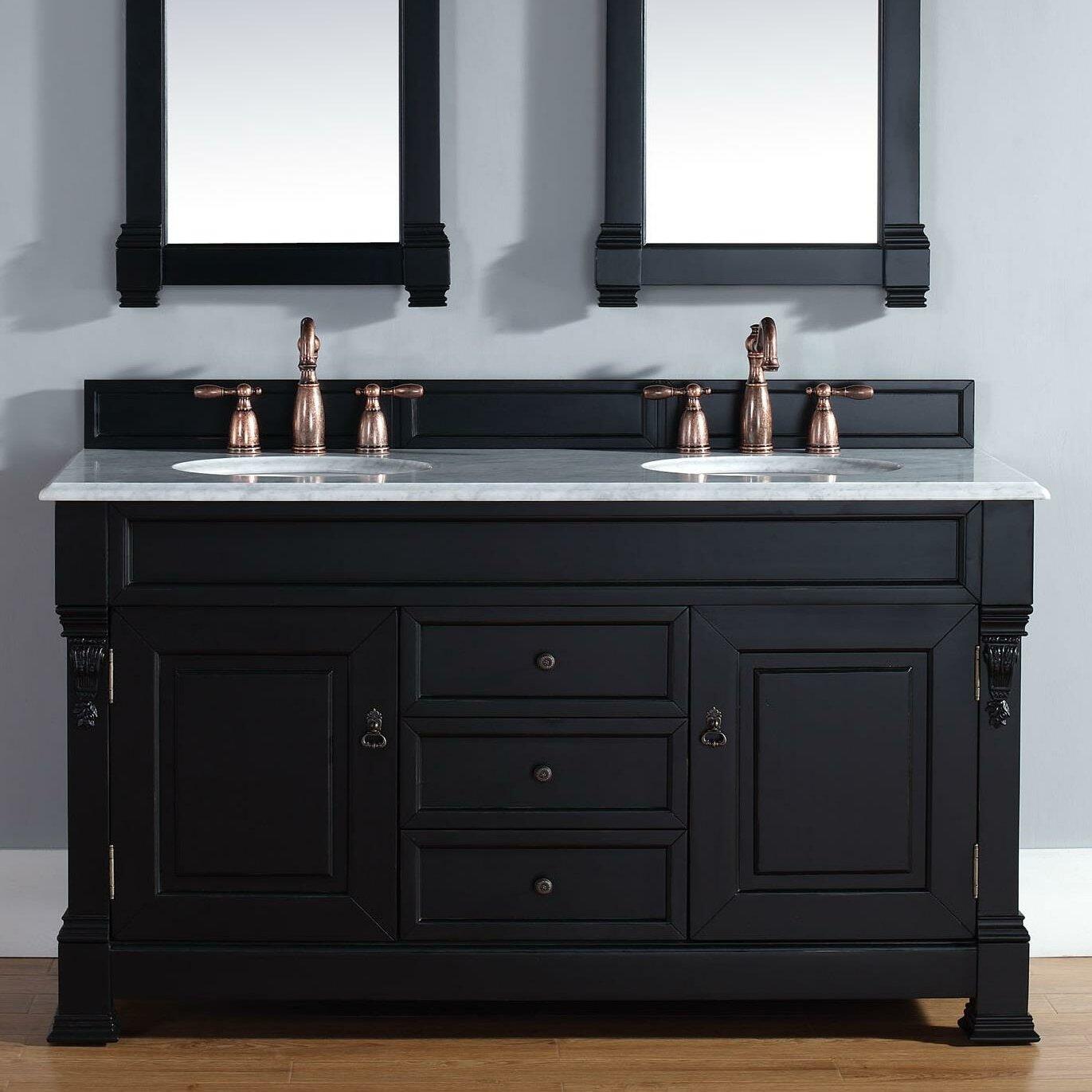 """Black Bathroom Vanity Set: Darby Home Co Bedrock 60"""" Double Antique Black Bathroom"""