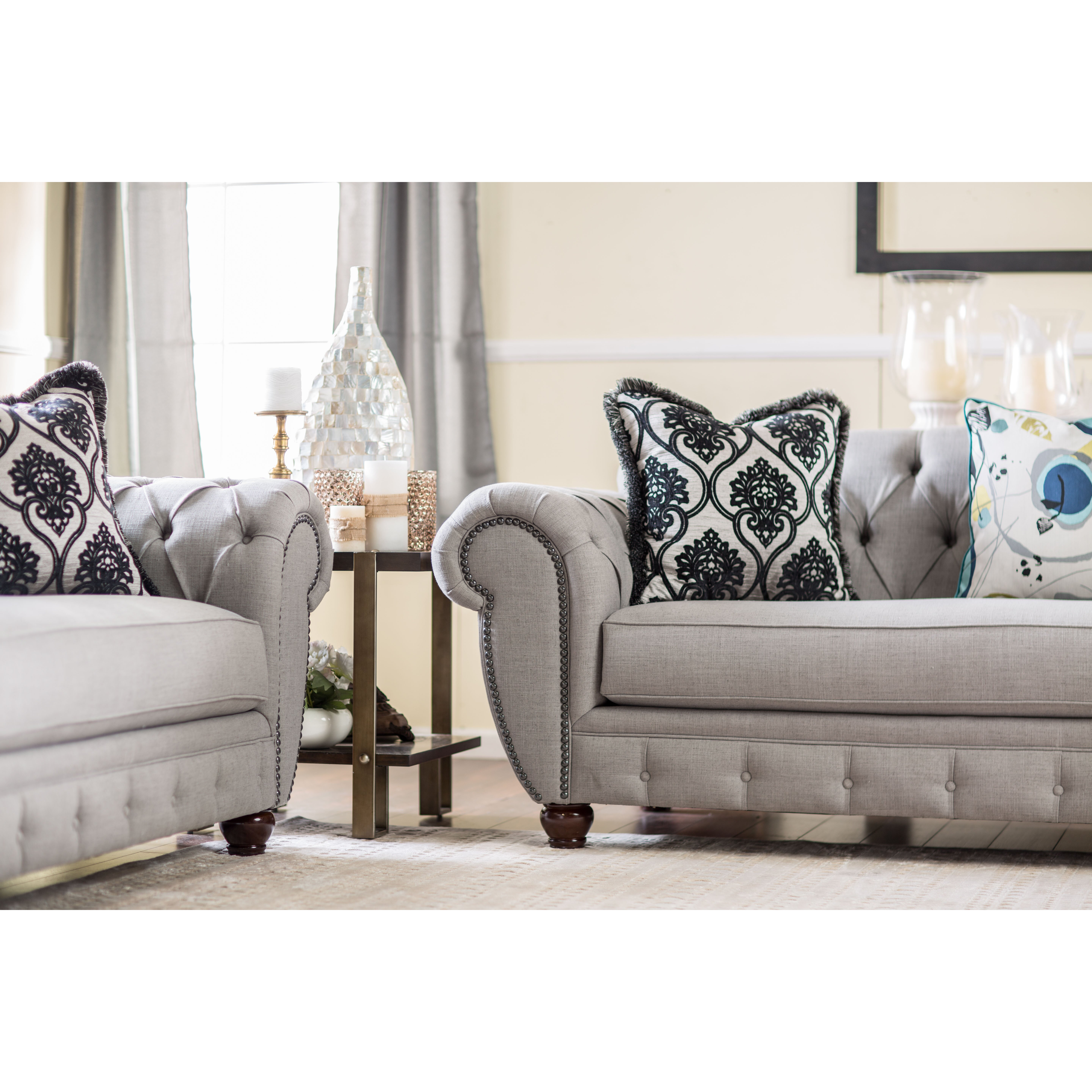 Living Room With Chesterfield Sofa Darby Home Co Suffield Chesterfield Sofa Reviews Wayfair