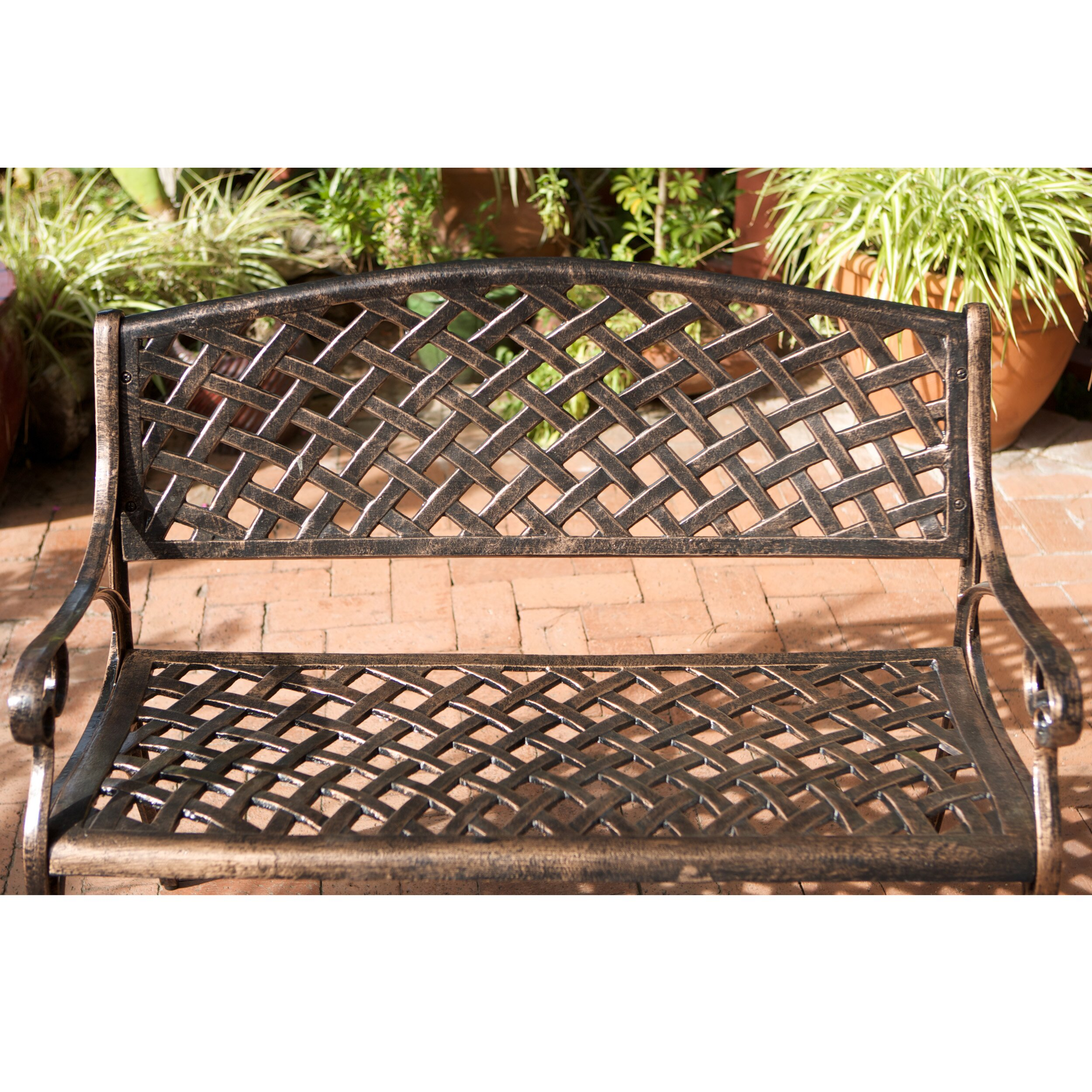 Alcott Hill Clifford Cast Aluminum Garden Bench Reviews Wayfair