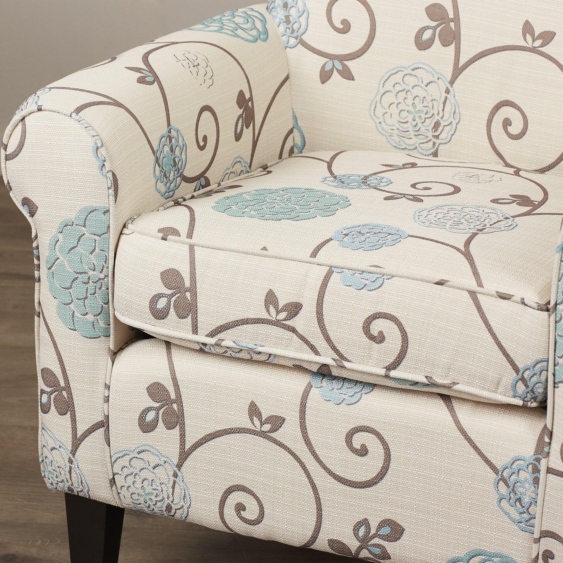 Alcott Hill Wadham Flowered Upholstered Arm Chair