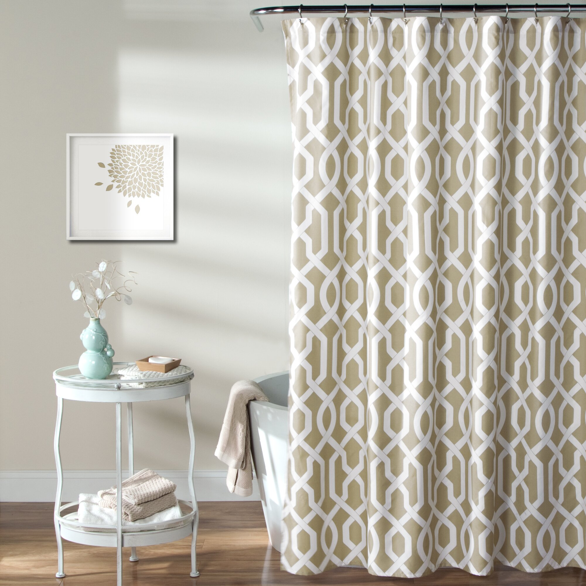 Chevron bathroom sets with shower curtain and rugs - Alcott Hill Reg Caledonia Shower Curtain