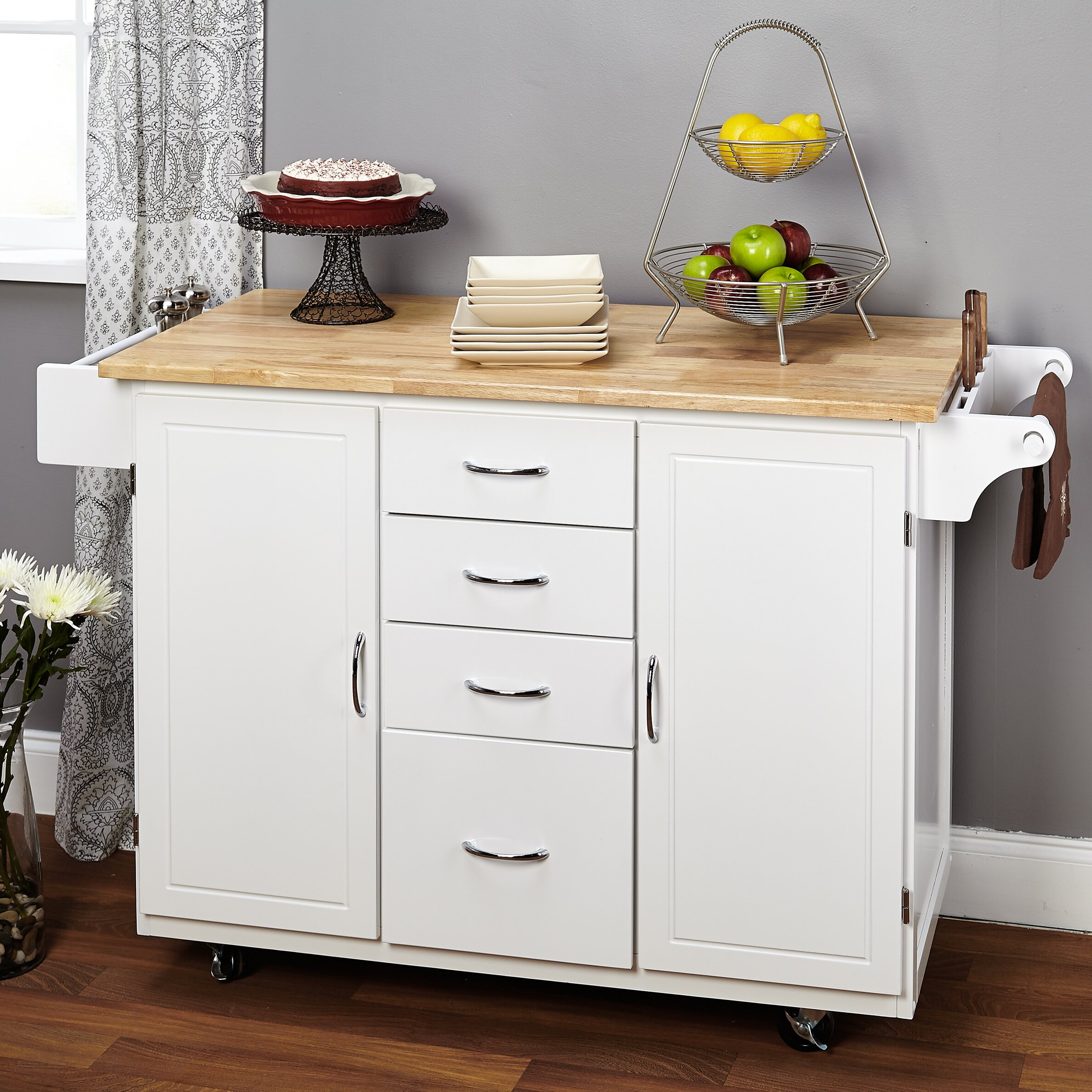 alcott hill harwick kitchen island with wooden top & reviews | wayfair