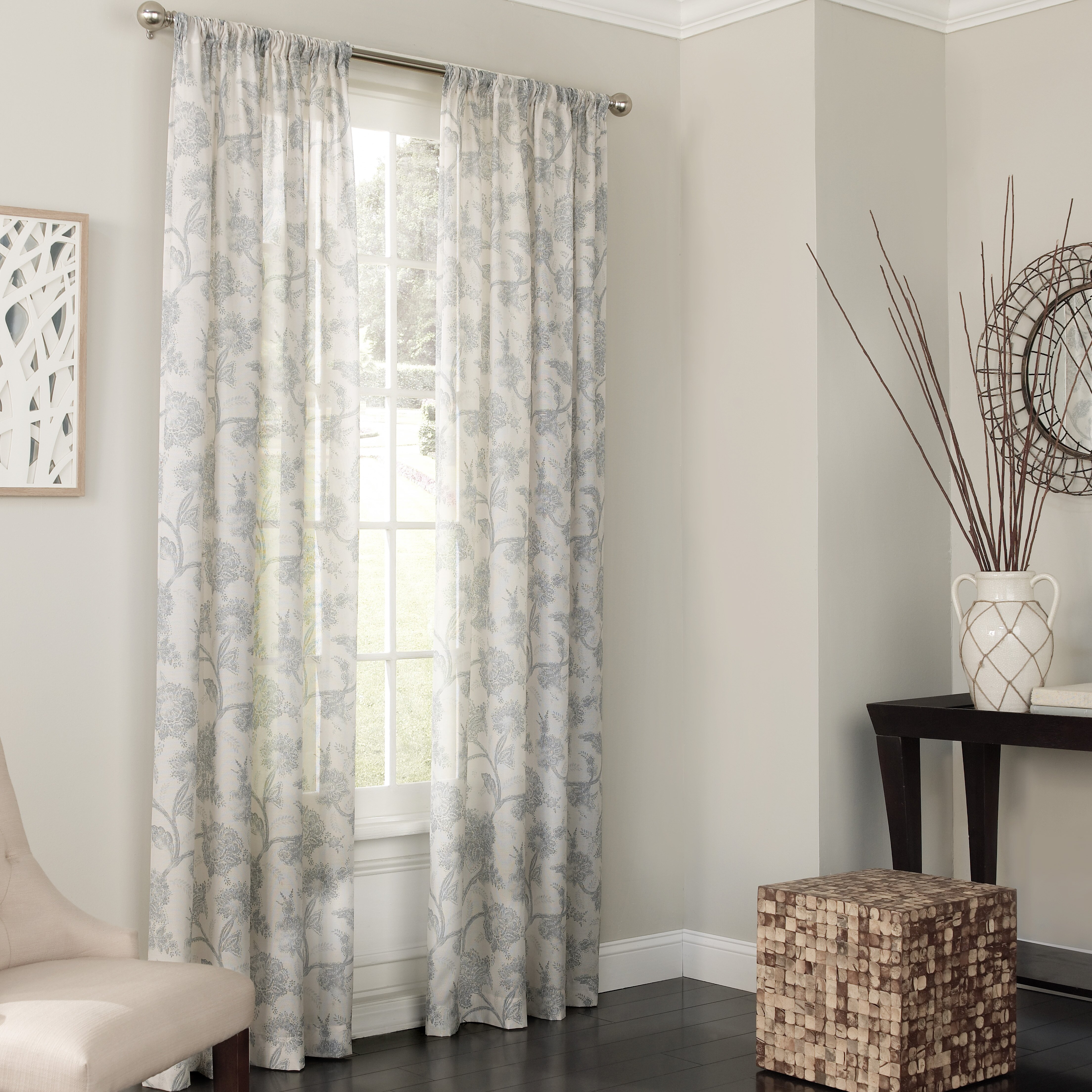 Sheer white bedroom curtains - Keystone Nature Floral Sheer Single Curtain Panel
