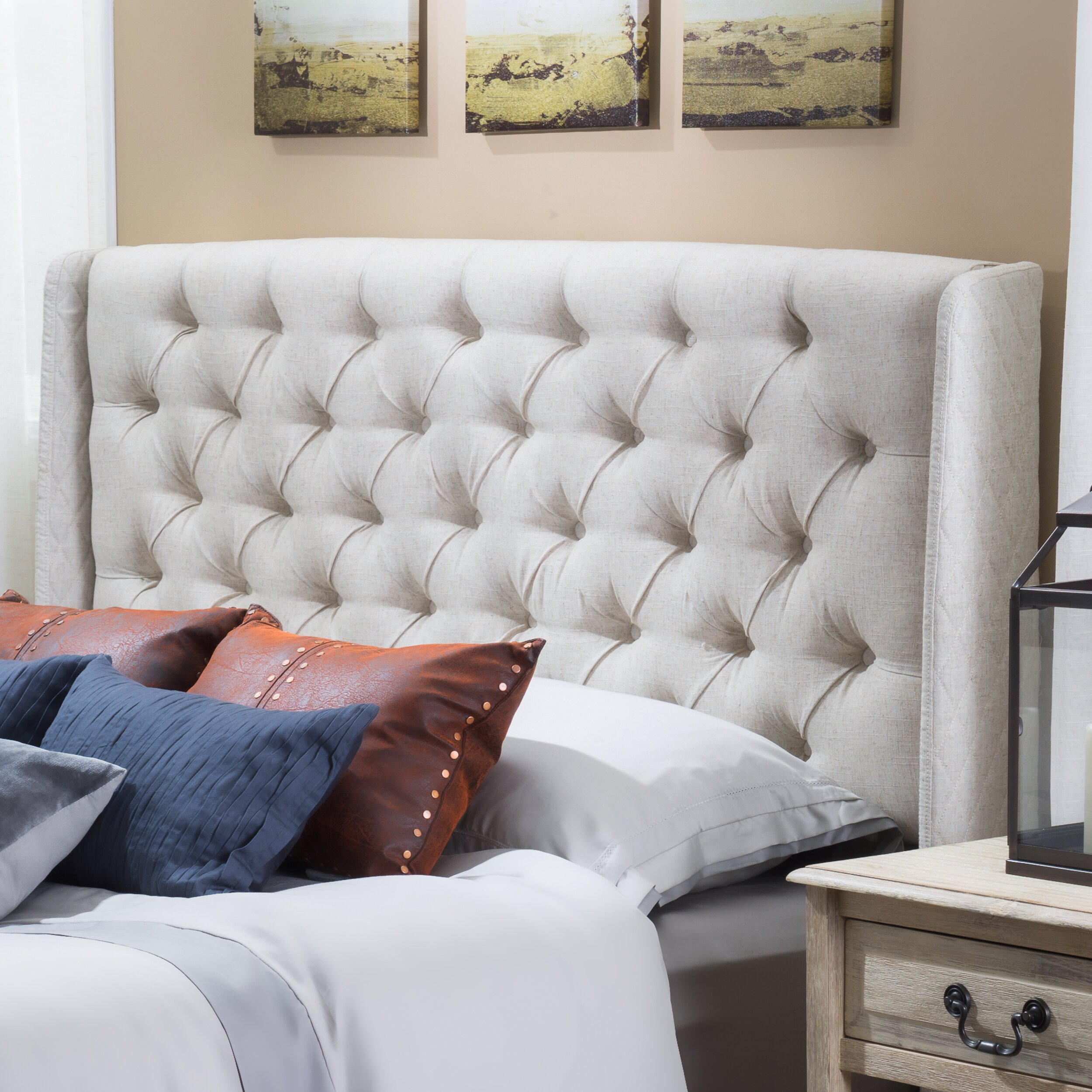 Bed frames headboards - Riley Upholstered Wingback Headboard