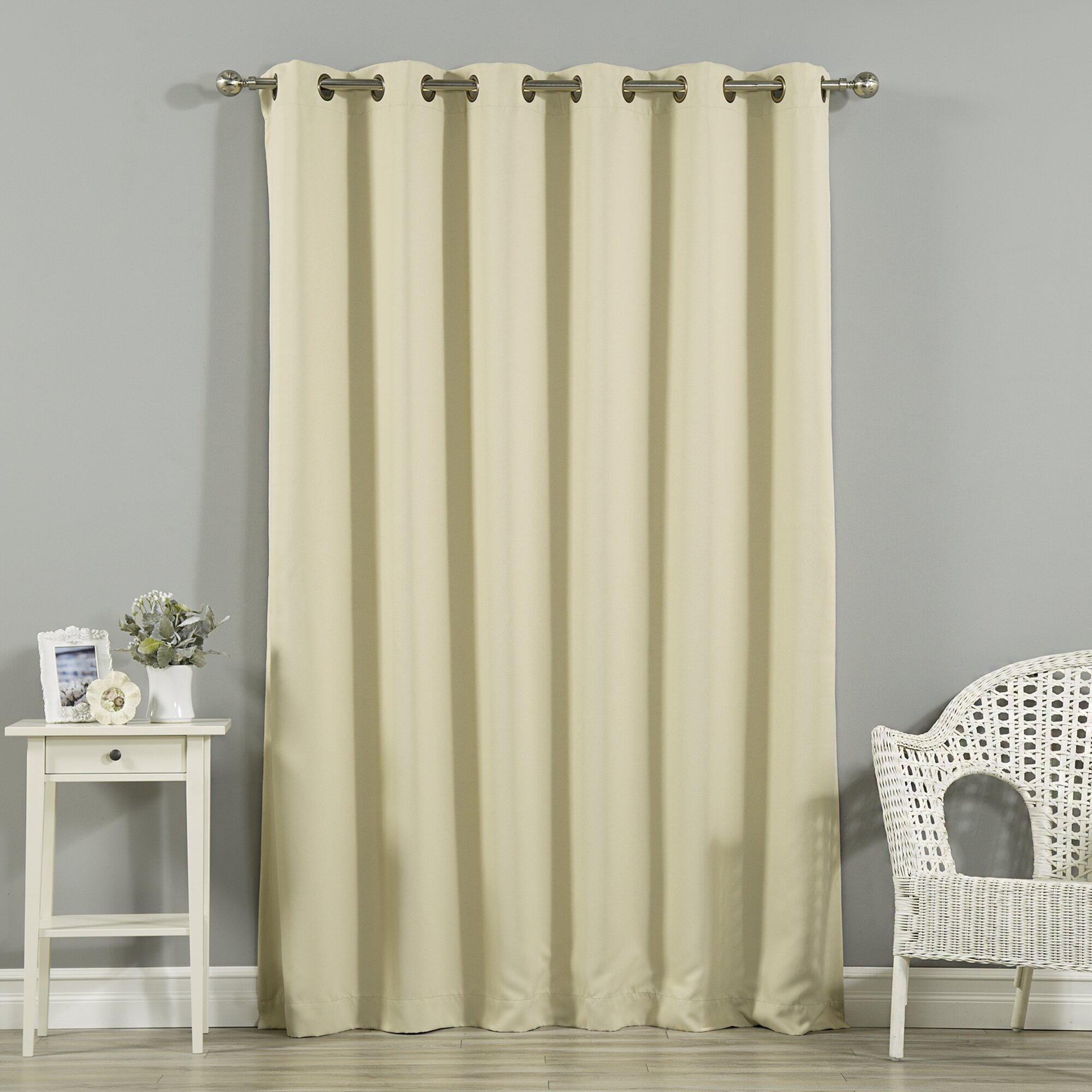 Open window with curtains blowing - Alcott Hill Reg Scarsdale Extra Wide Width Blackout Thermal Single Curtain Panel