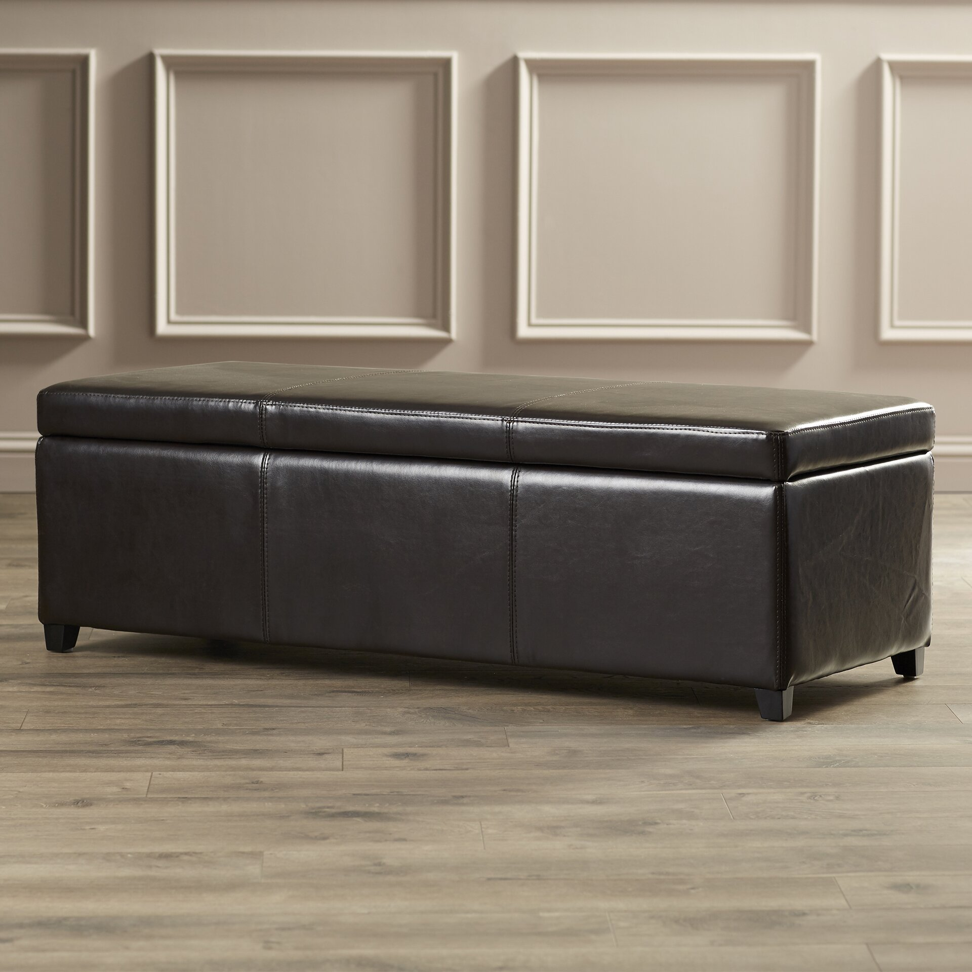 Leather Bedroom Bench Charlton Home Ephraim Leather Storage Bedroom Bench Reviews