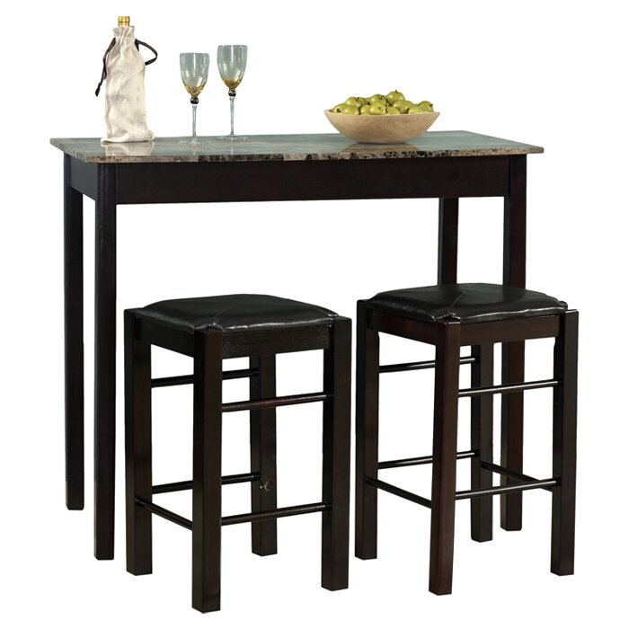 Charlton home prosser 3 piece counter height dining set for 3 piece dining room