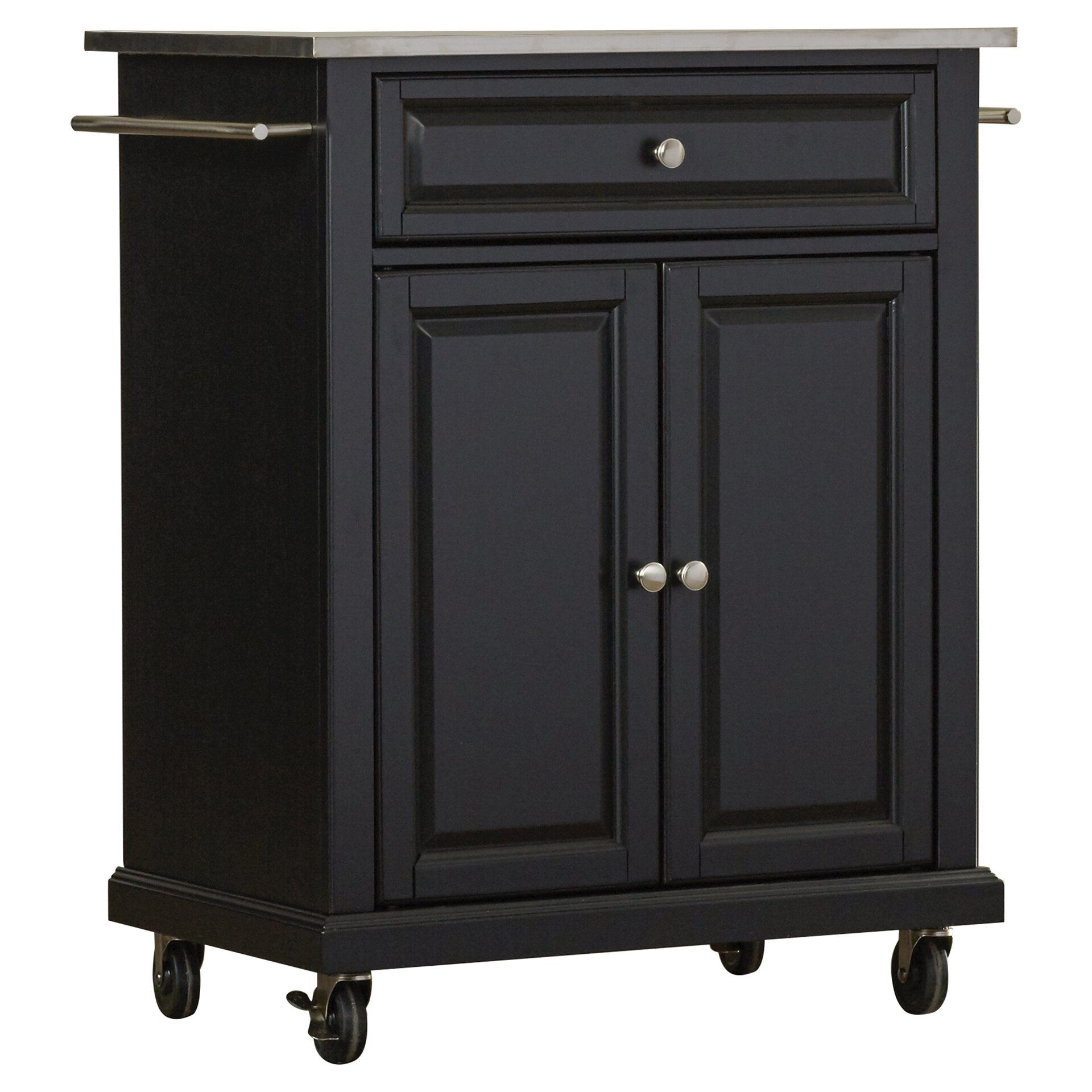 charlton home bainbridge kitchen cart with stainless steel top, Kitchen design