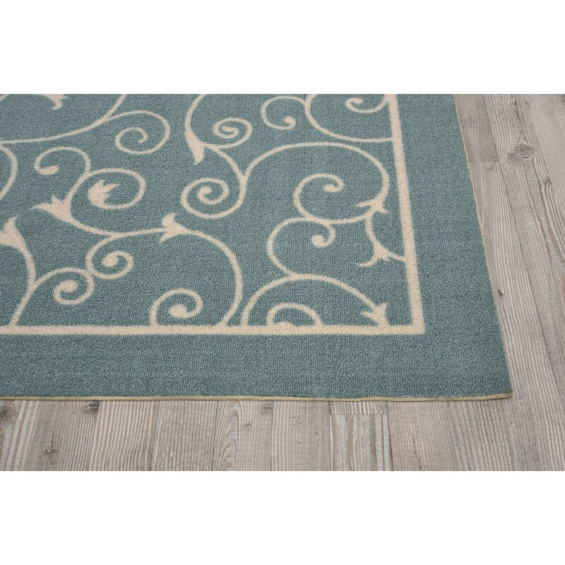Charlton Home Wright Light Blue Indoor/Outdoor Area Rug
