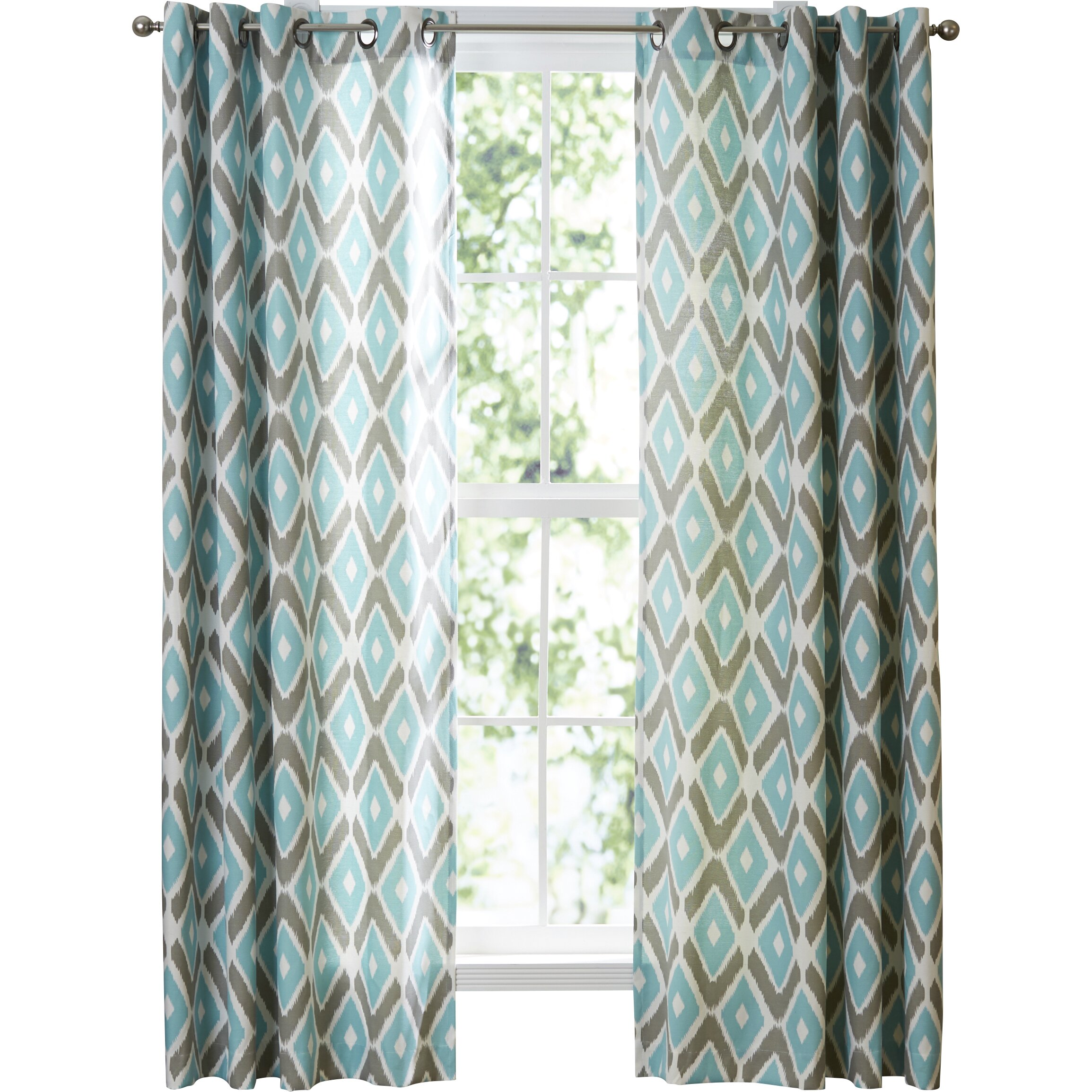 Ikat curtain panels - Blue And White Ikat Curtains Quick View