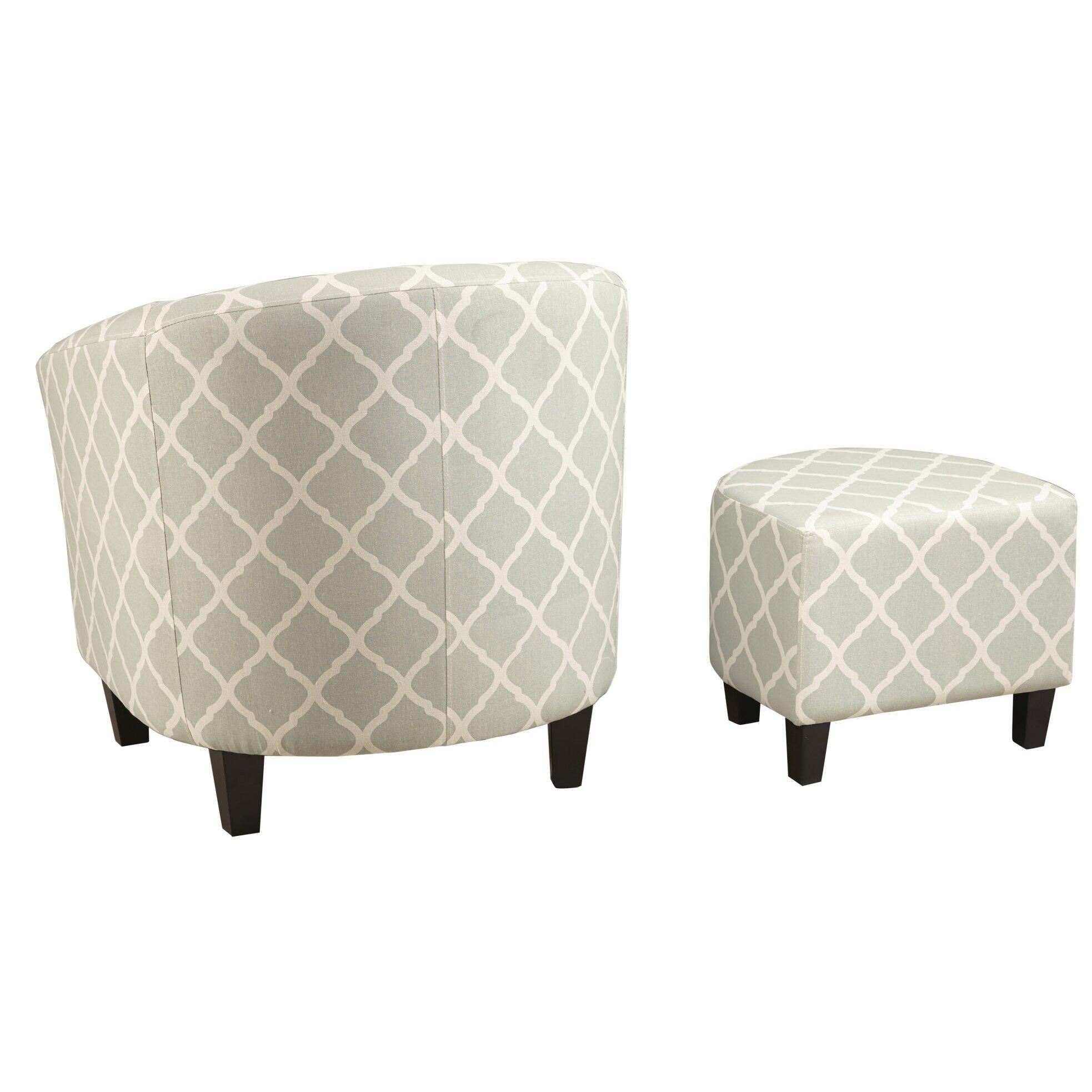 Brayden Studio 2 Piece Upholstered Barrel Chair and Ottoman Set – Upholstered Chair with Ottoman