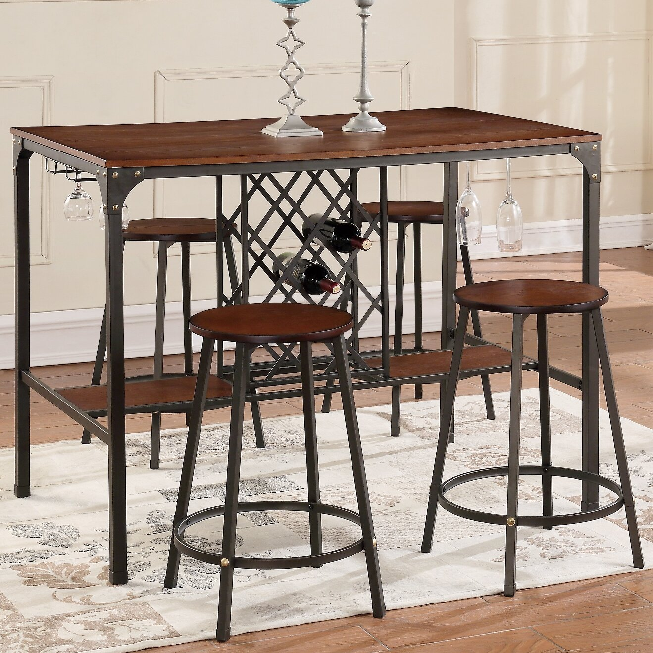 littell 5 piece pub table set reviews allmodern. Black Bedroom Furniture Sets. Home Design Ideas