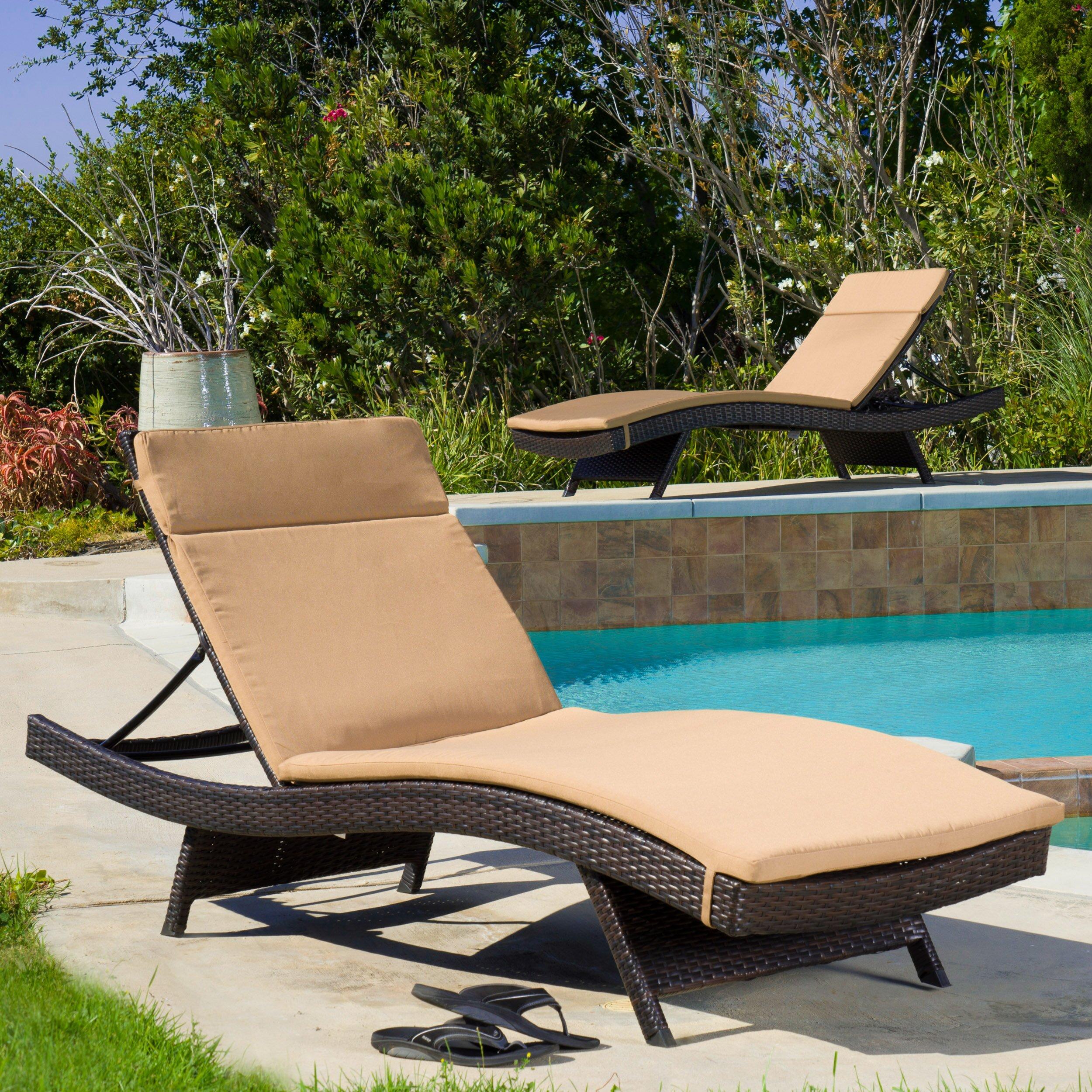 Wade logan claverton down outdoor chaise lounge cushion for 23 w outdoor cushion for chaise