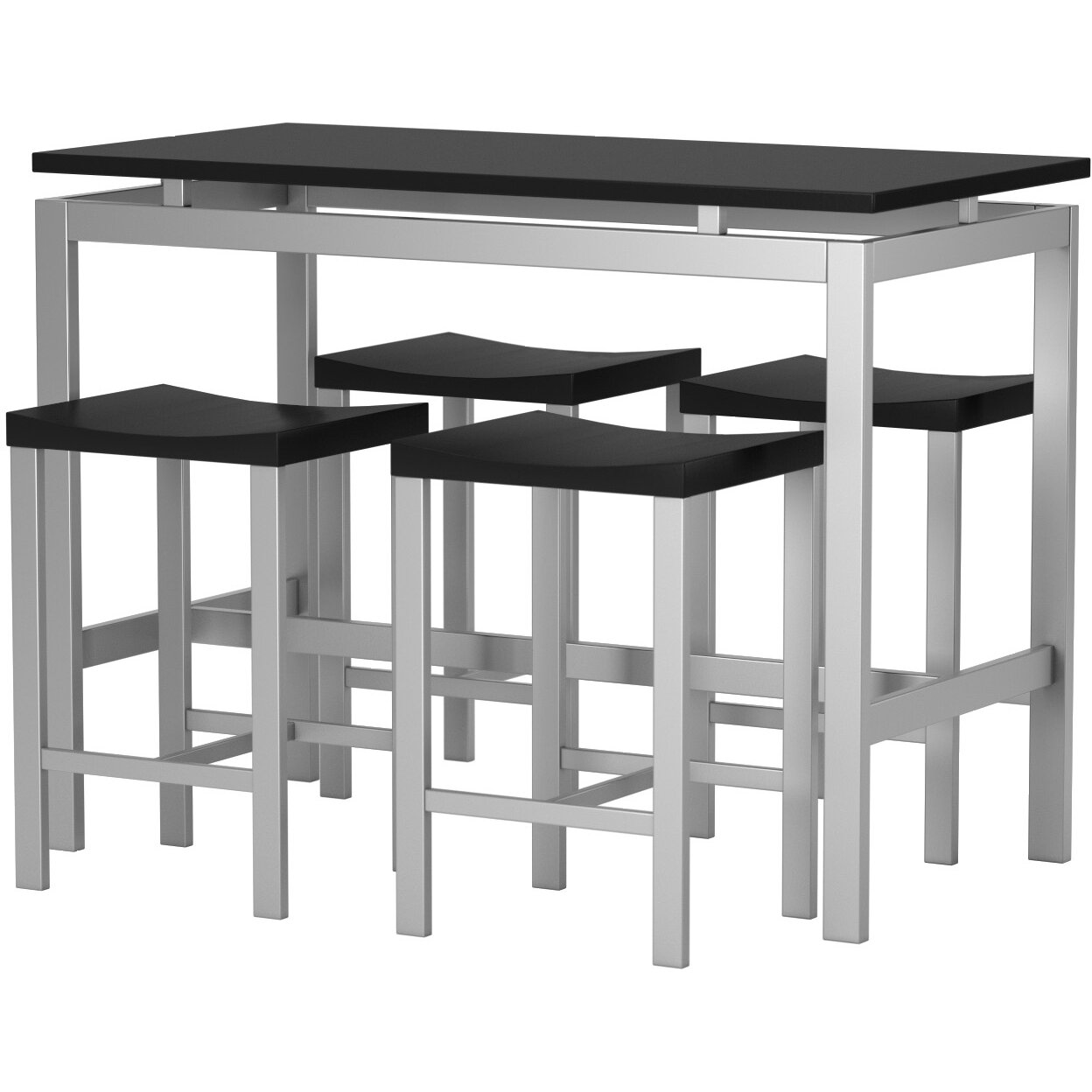 Wade Logan Daryl 5 Piece Counter Height Pub Table Set