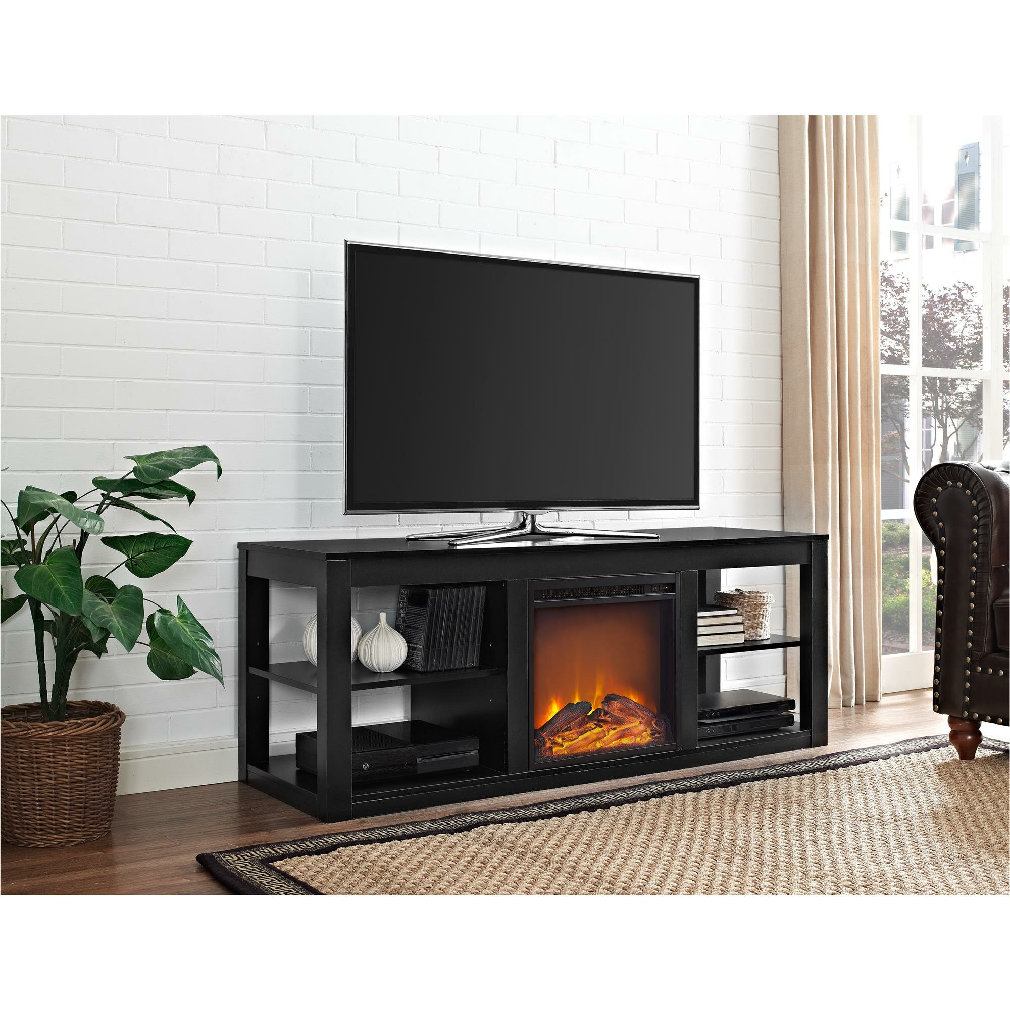 White tv stand with electric fireplace - Wade Logan Reg Salma Tv Stand With Electric Fireplace