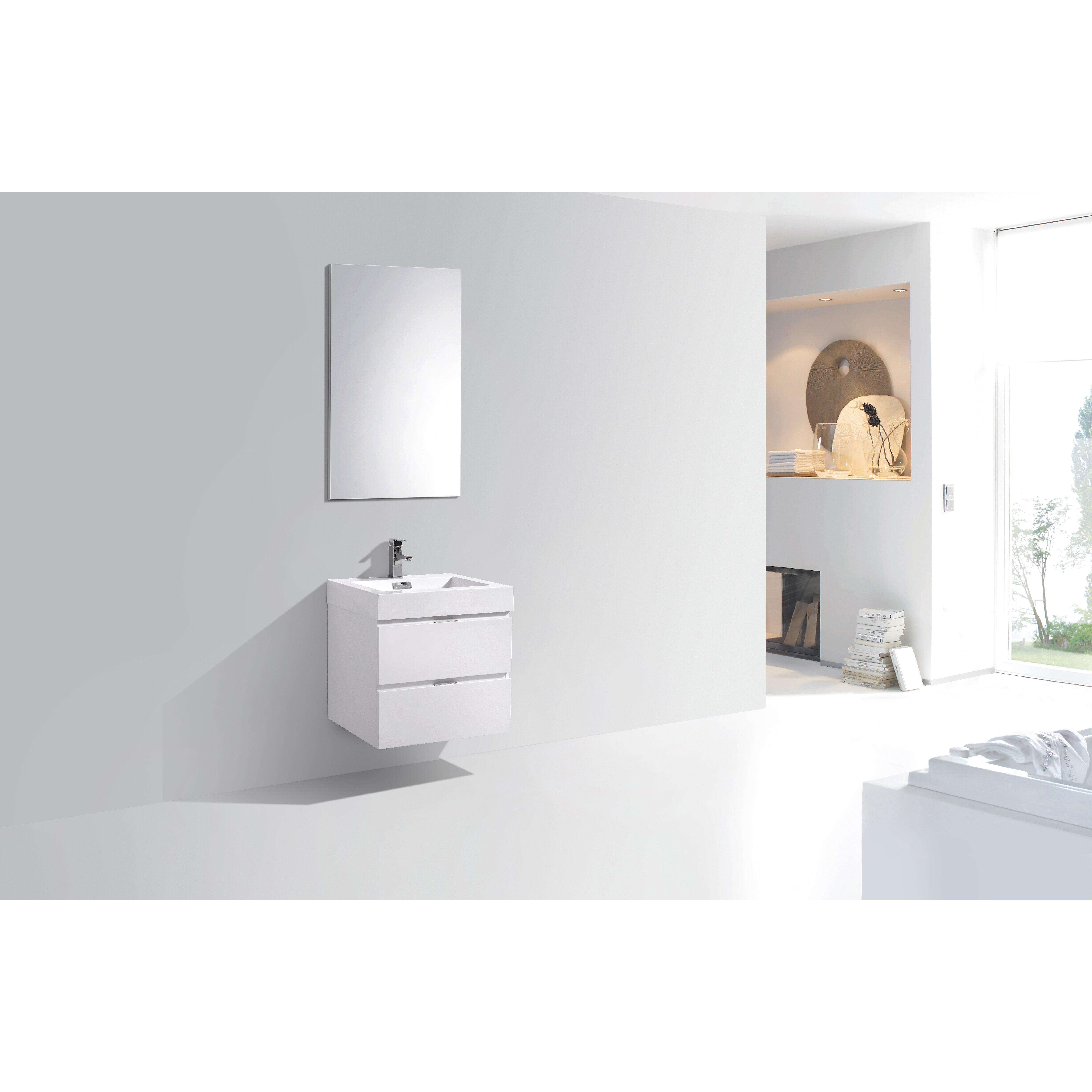 Modern Bathroom Vanity Wade Logan Tenafly 24 Single Wall Mount Modern Bathroom Vanity