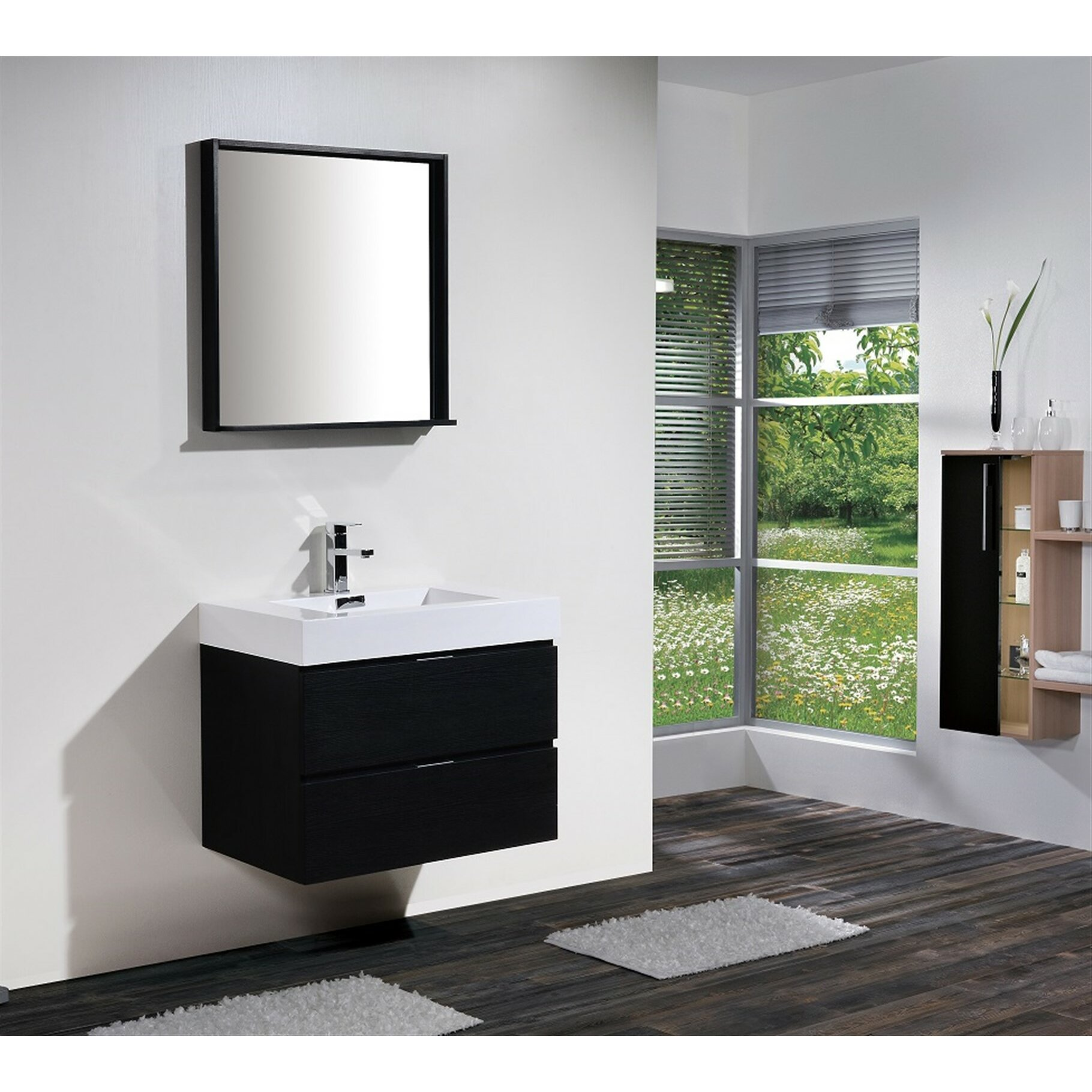 Modern bathroom cabinet - Wade Logan Reg Tenafly 30 Quot Single Wall Mount Modern Bathroom Vanity Set