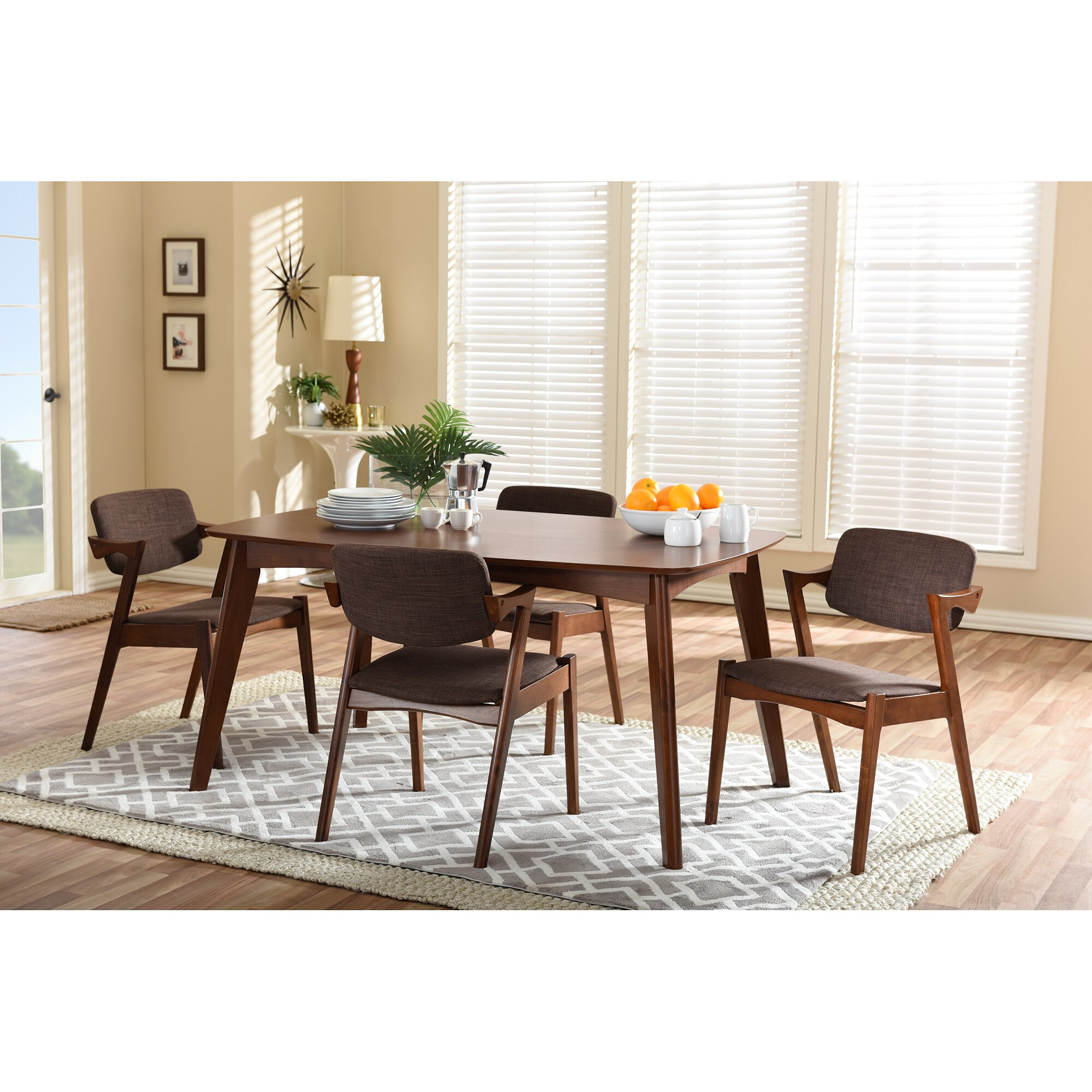 elianna elegant dark walnut upholstered 5 piece dining set f