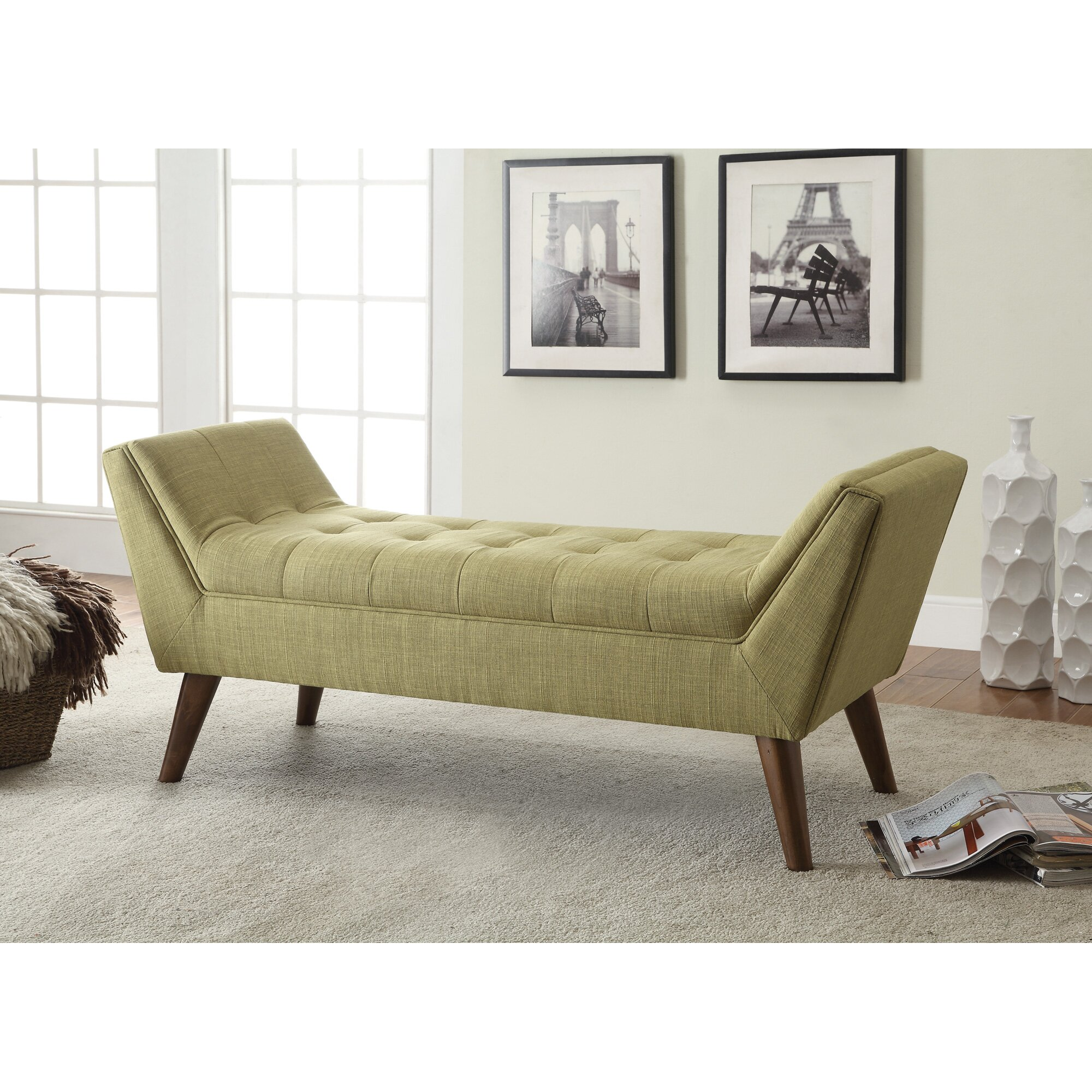 Bedroom bench with arms - Langley Street Serena Upholstered Bedroom Bench Reviews Wayfair