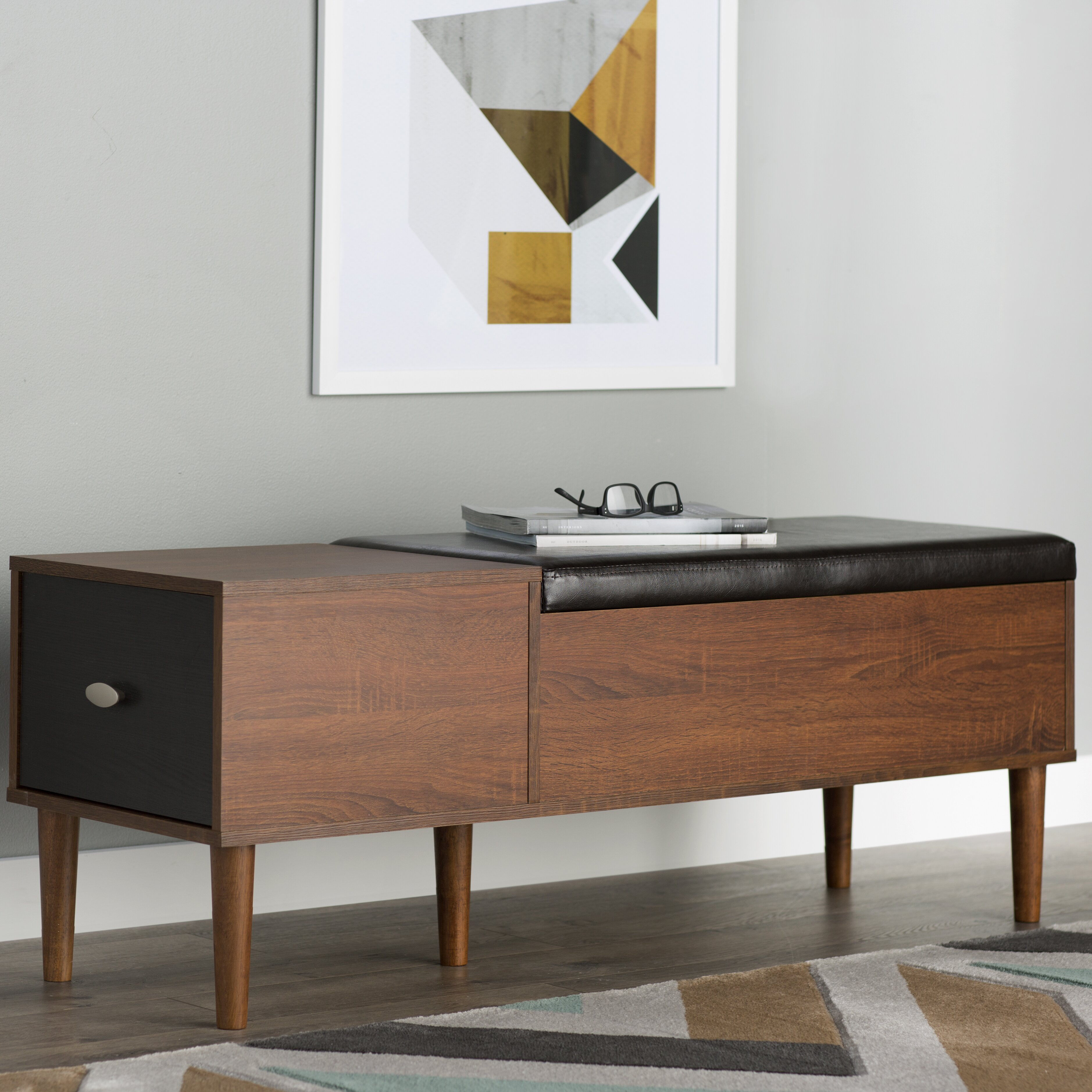 Modern Entryway Bench: Langley Street Linden Wood Storage Entryway Bench